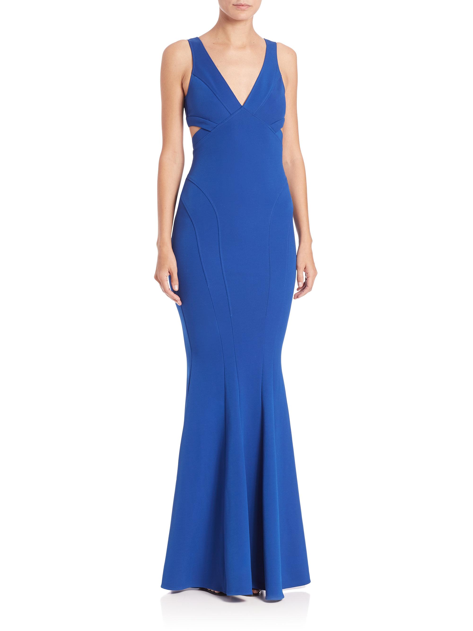 Lyst - Zac Zac Posen Jax Bondage Jersey Gown in Blue