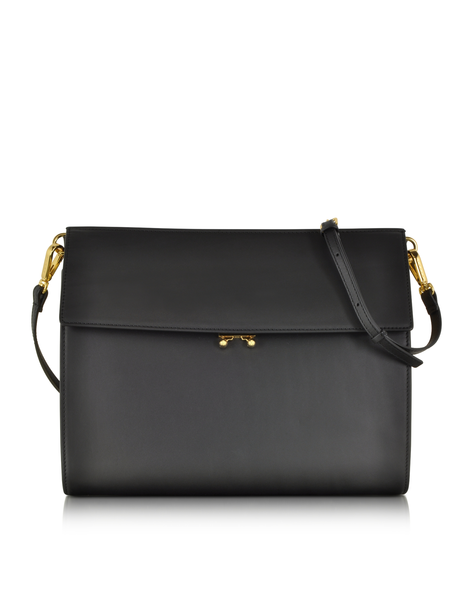 Carbon Black Metallic: Marni File Bag Carbon Black Leather Large Pochette