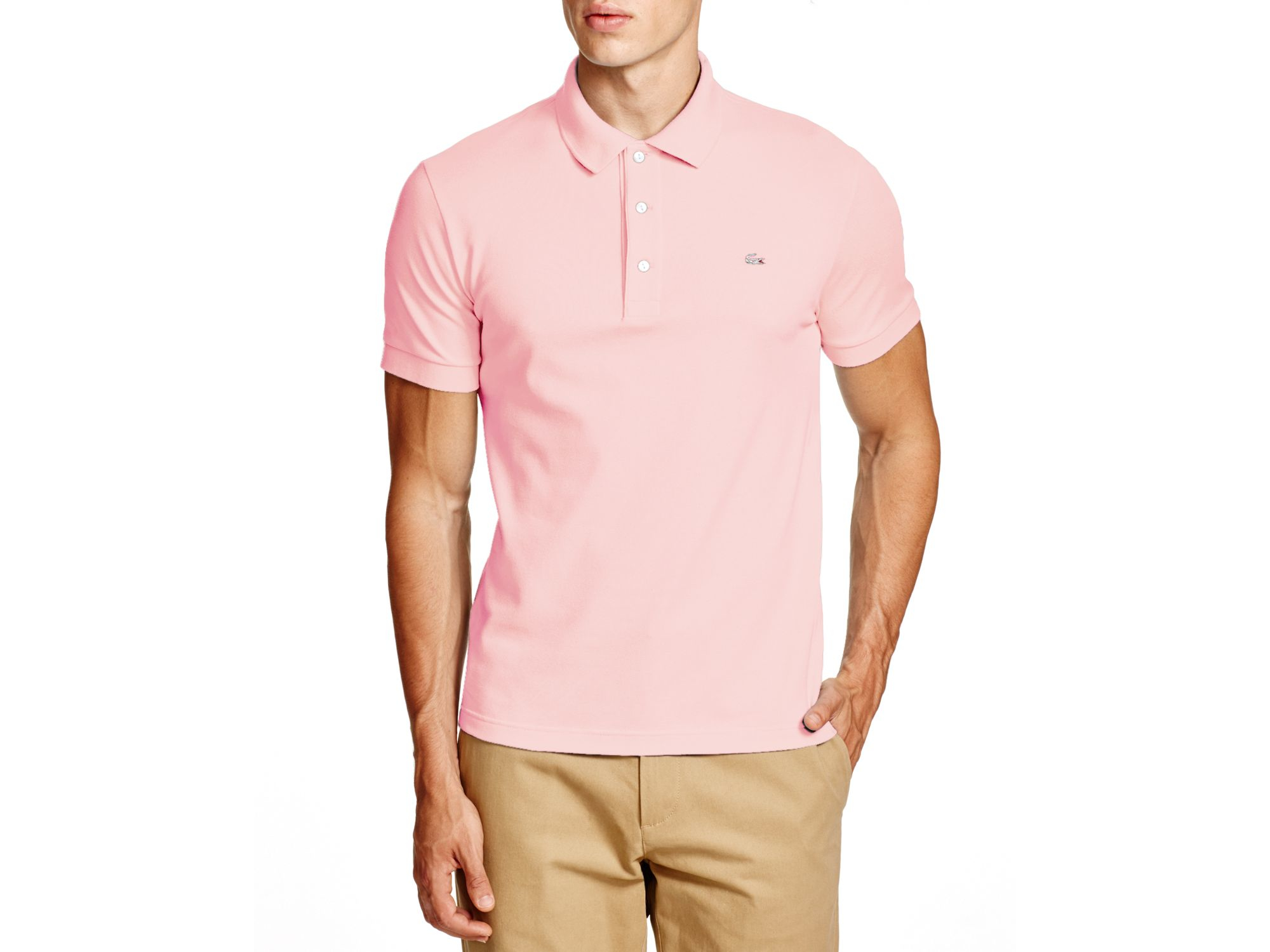 Lyst - Lacoste Stretch Slim Fit Polo in Pink for Men 8ad02cabb8