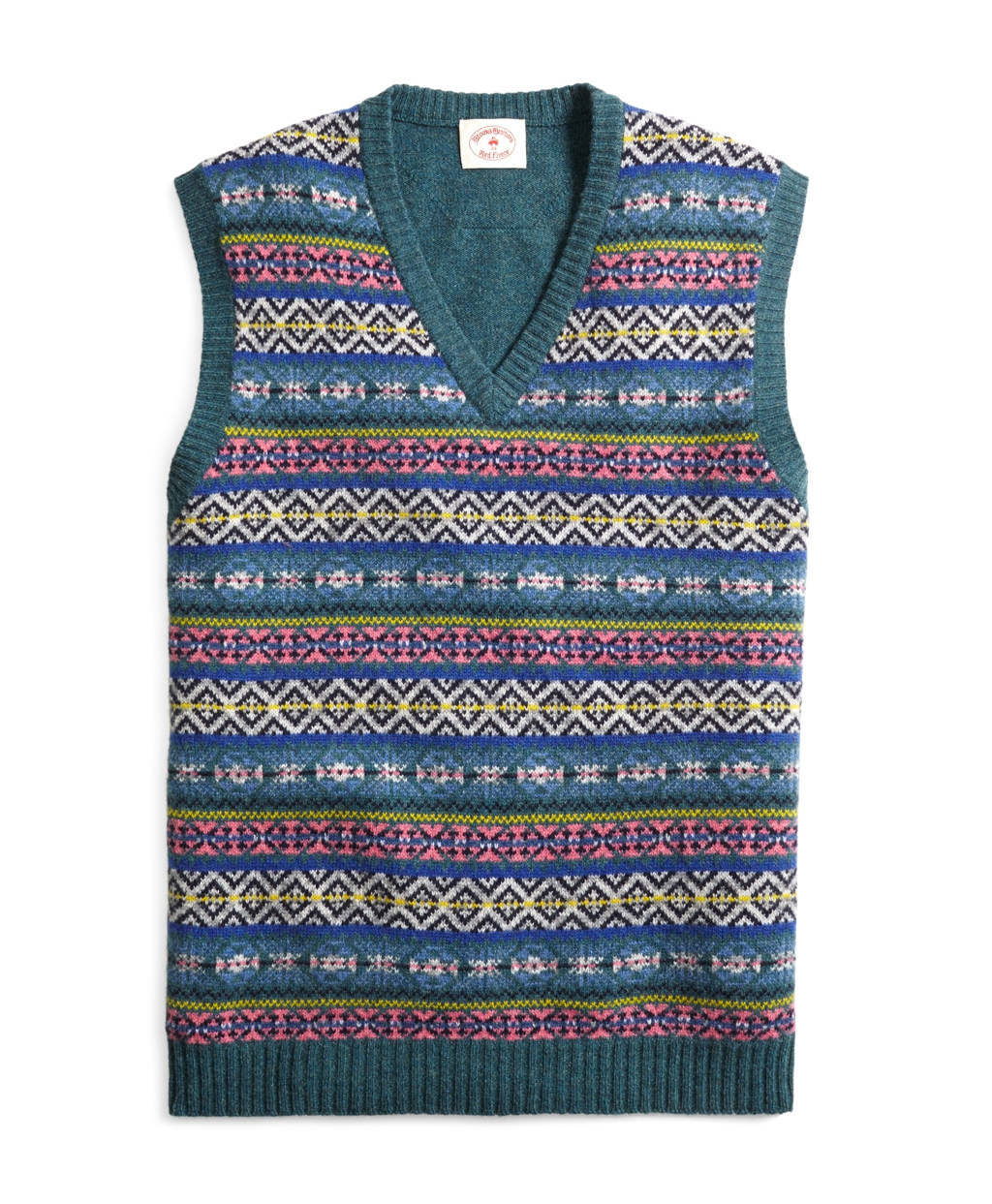 Brooks brothers Fair Isle Sweater Vest in Green for Men | Lyst