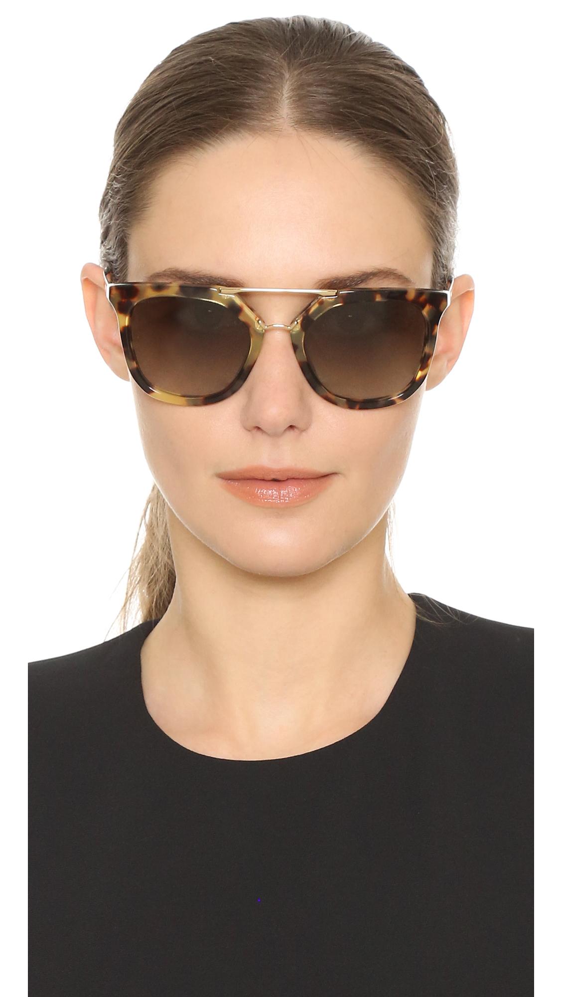 5db6d279a Prada Thick Frame Aviator Sunglasses in Green - Lyst