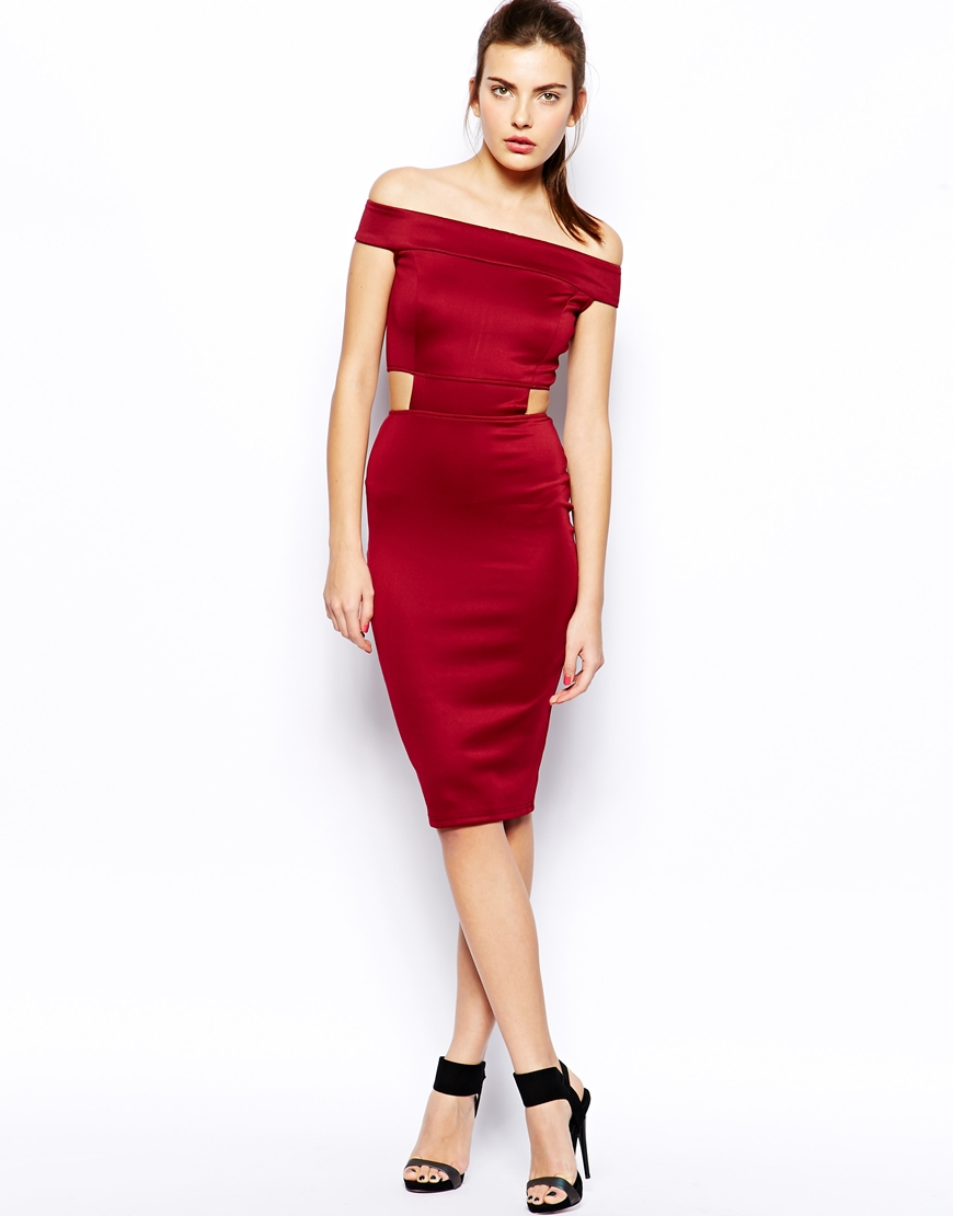 48444dc996a AX Paris Off Shoulder Midi Dress with Cutouts in Red - Lyst