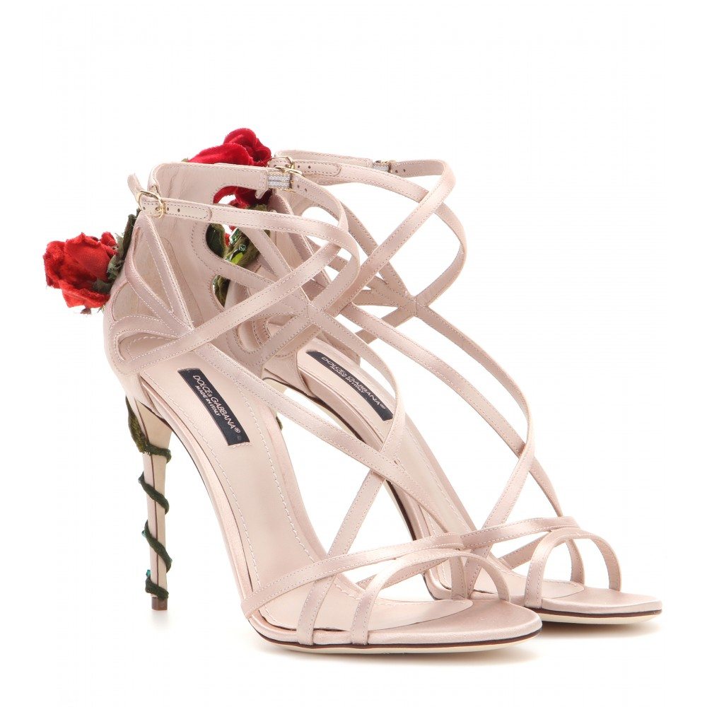 a18303678ea Lyst - Dolce   Gabbana Embellished Satin Sandals in Pink