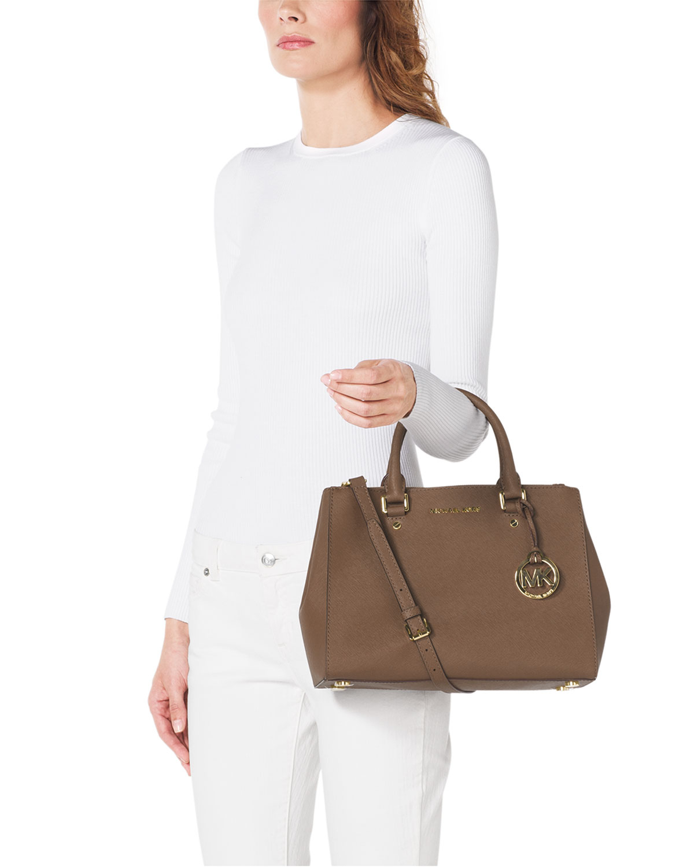 19de81807b1f MICHAEL Michael Kors Sutton Medium Satchel Bag in Brown - Lyst