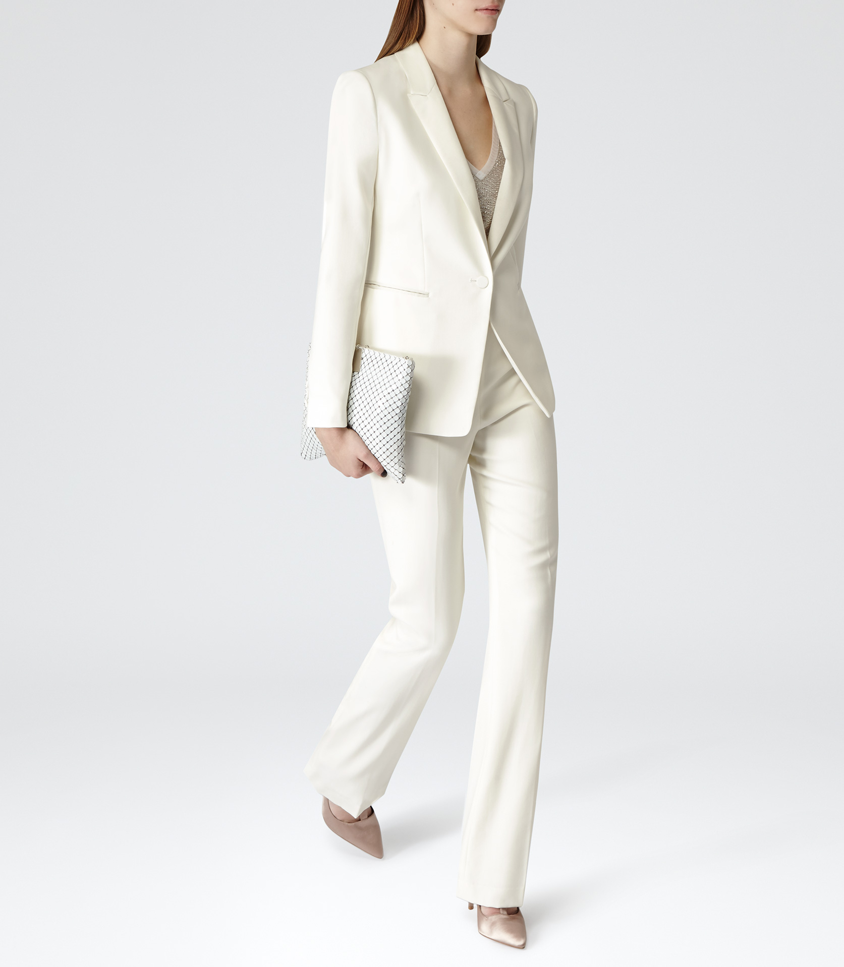 Reiss Pfeiffer Slim-Fit Wool Blazer in Natural | Lyst