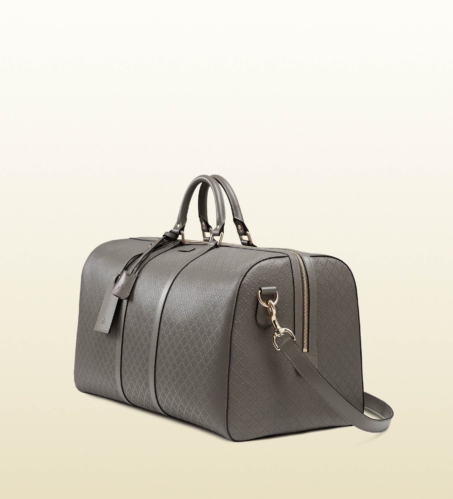 e8edd57efcc Gucci Bright Diamante Leather Carry-on Duffle Bag in Gray for Men - Lyst