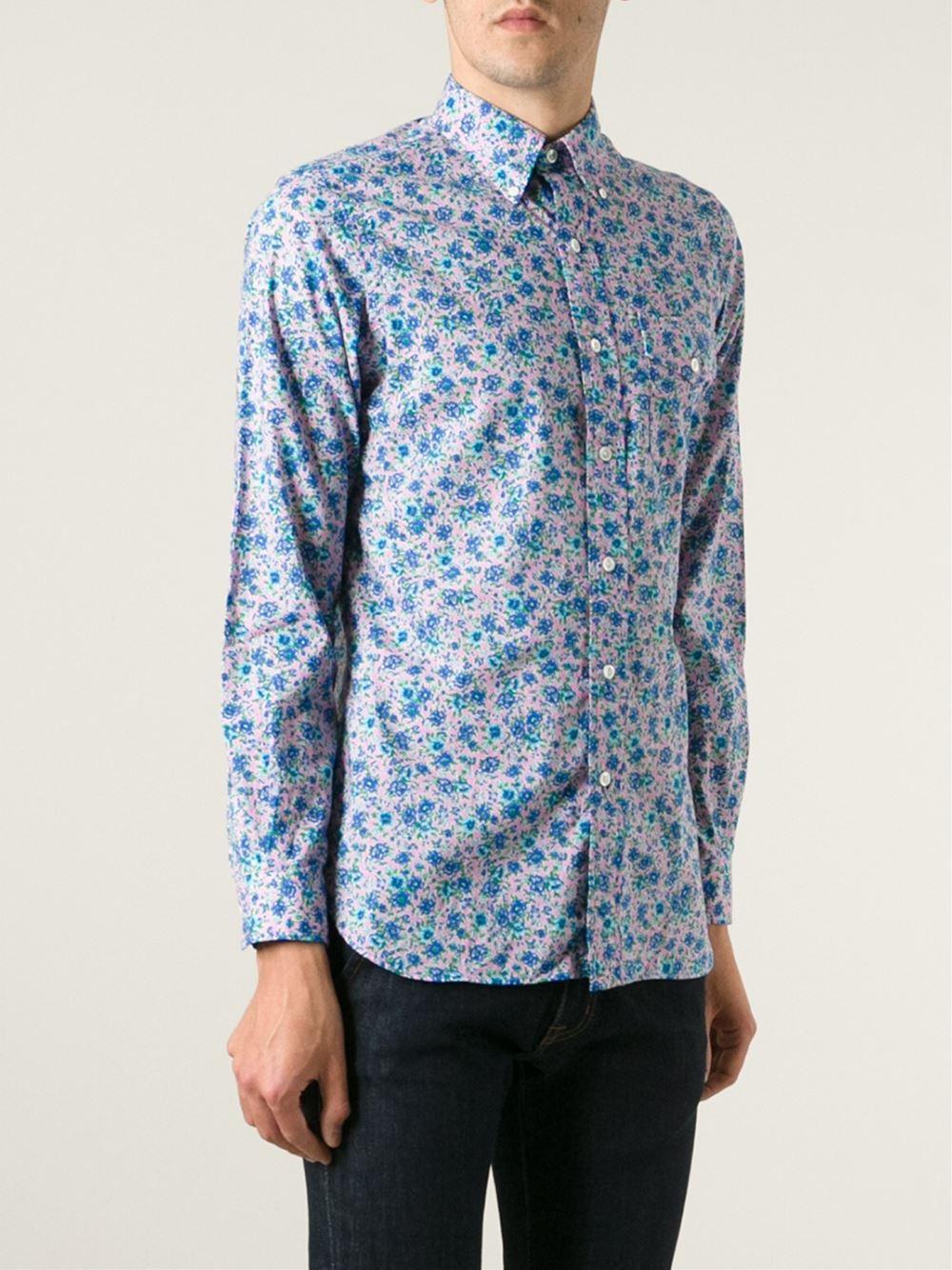 Polo ralph lauren floral print button down shirt in blue for Polo ralph lauren casual button down shirts