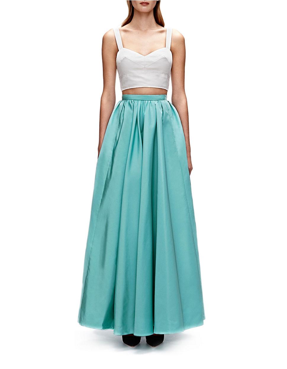 stuart solid maxi skirt in blue lyst