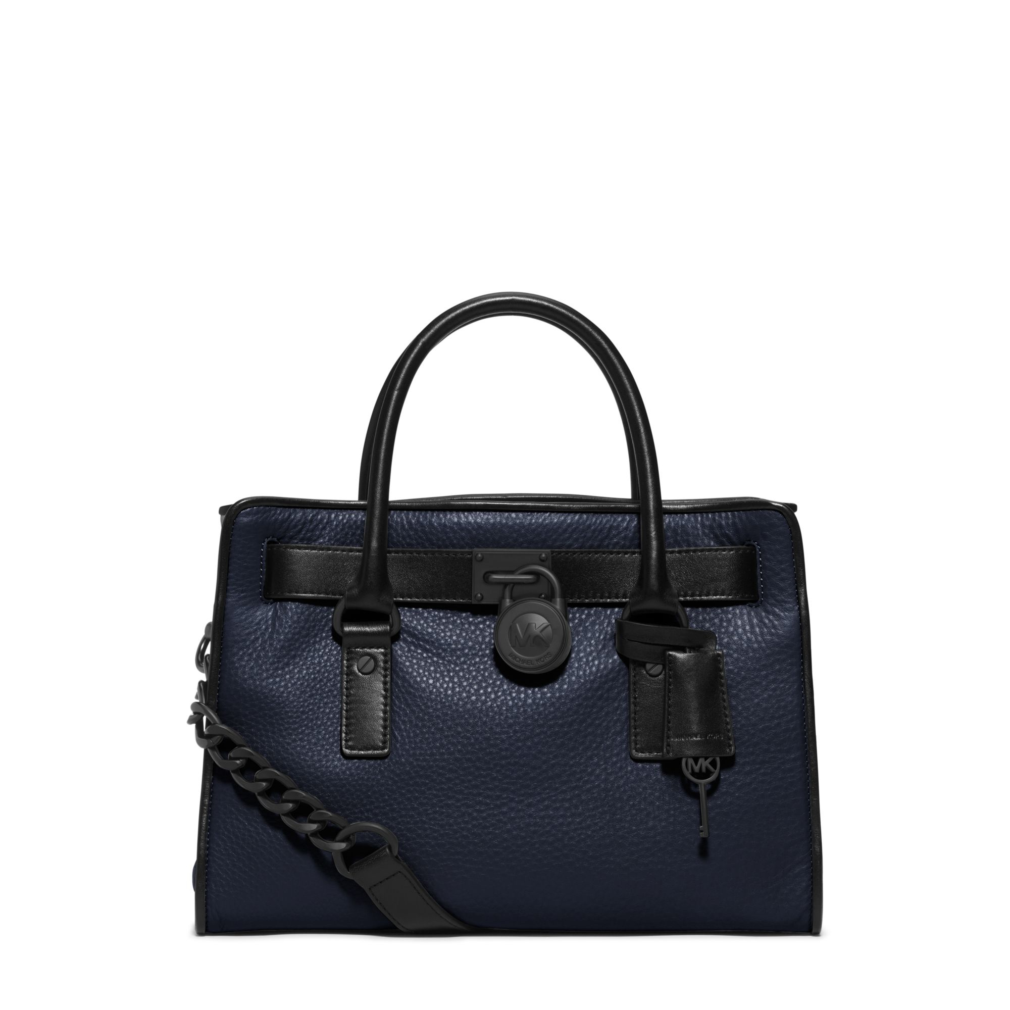 2bd893ca2d2e Lyst - Michael Kors Hamilton Two-tone Leather Satchel in Blue