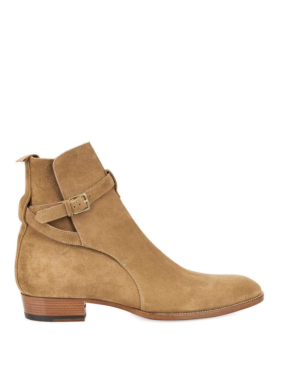 Saint laurent Suede Ankle Boots in Brown for Men | Lyst