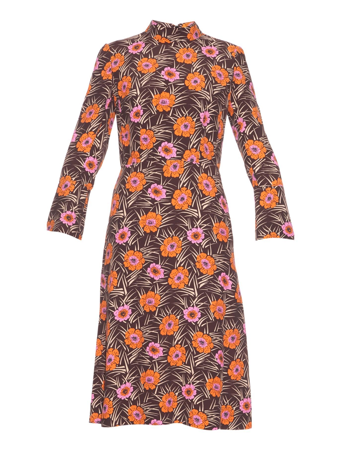 Stand Collar Dress Designs : Lyst marni asticon print stand collar midi dress in orange