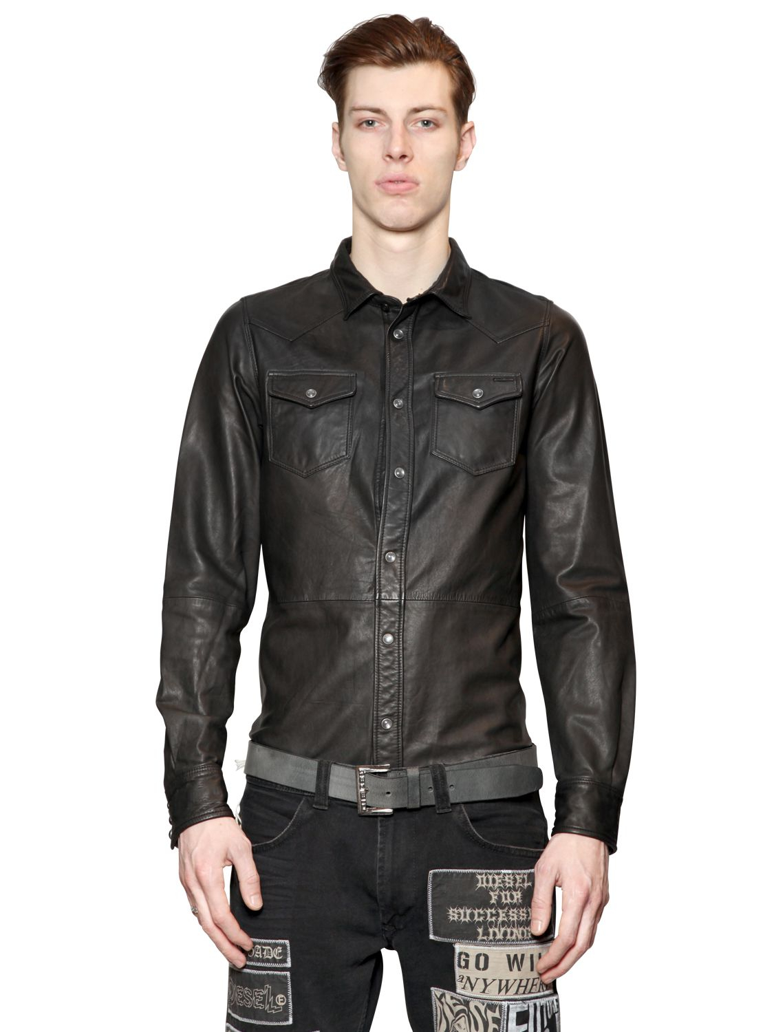 Diesel Washed Leather Western Style Shirt in Black for Men ...