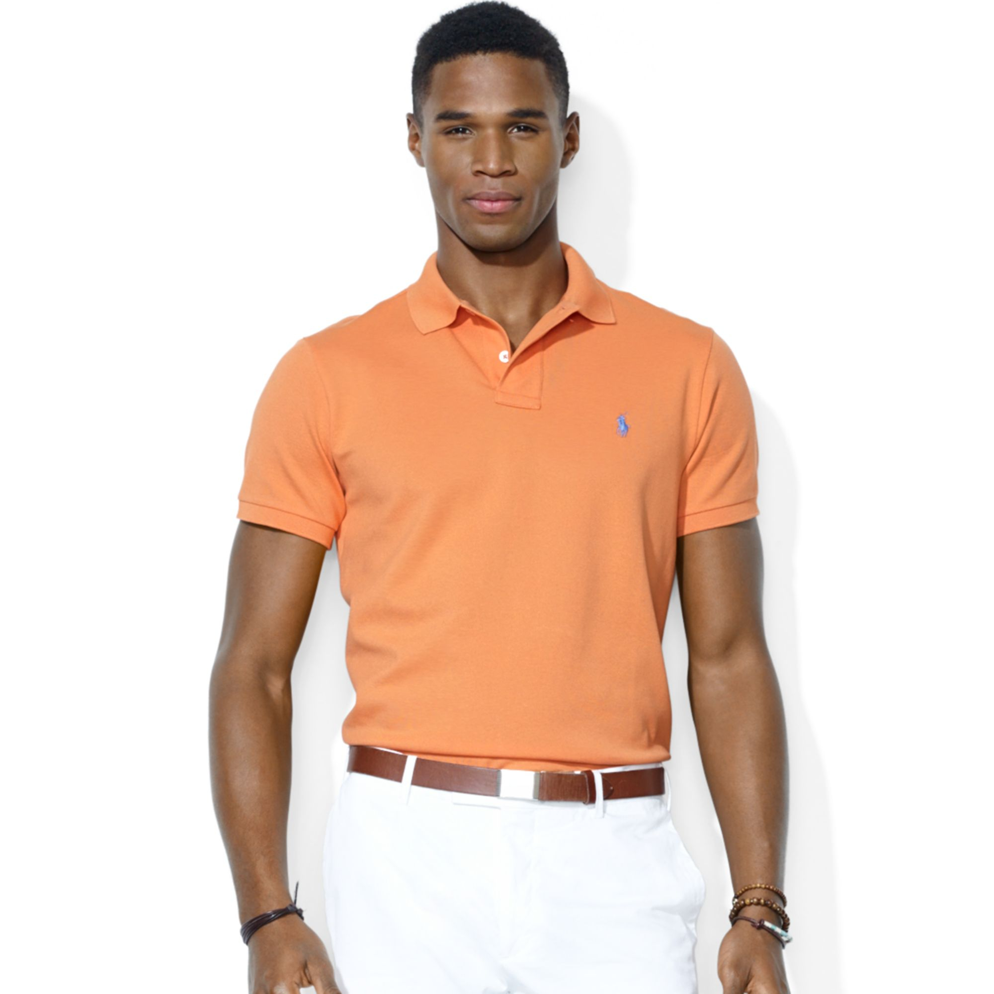 Lyst polo ralph lauren polo customfit stretchmesh polo for Expensive polo shirt brands