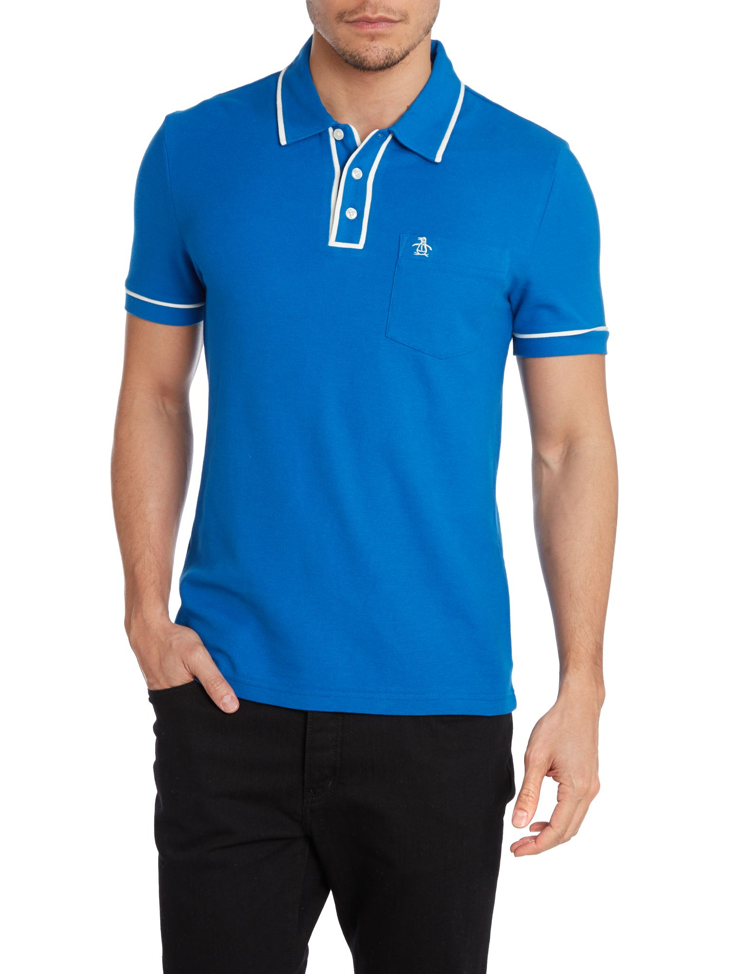 Original Penguin Short Sleeve Earl Polo Shirt In Blue For