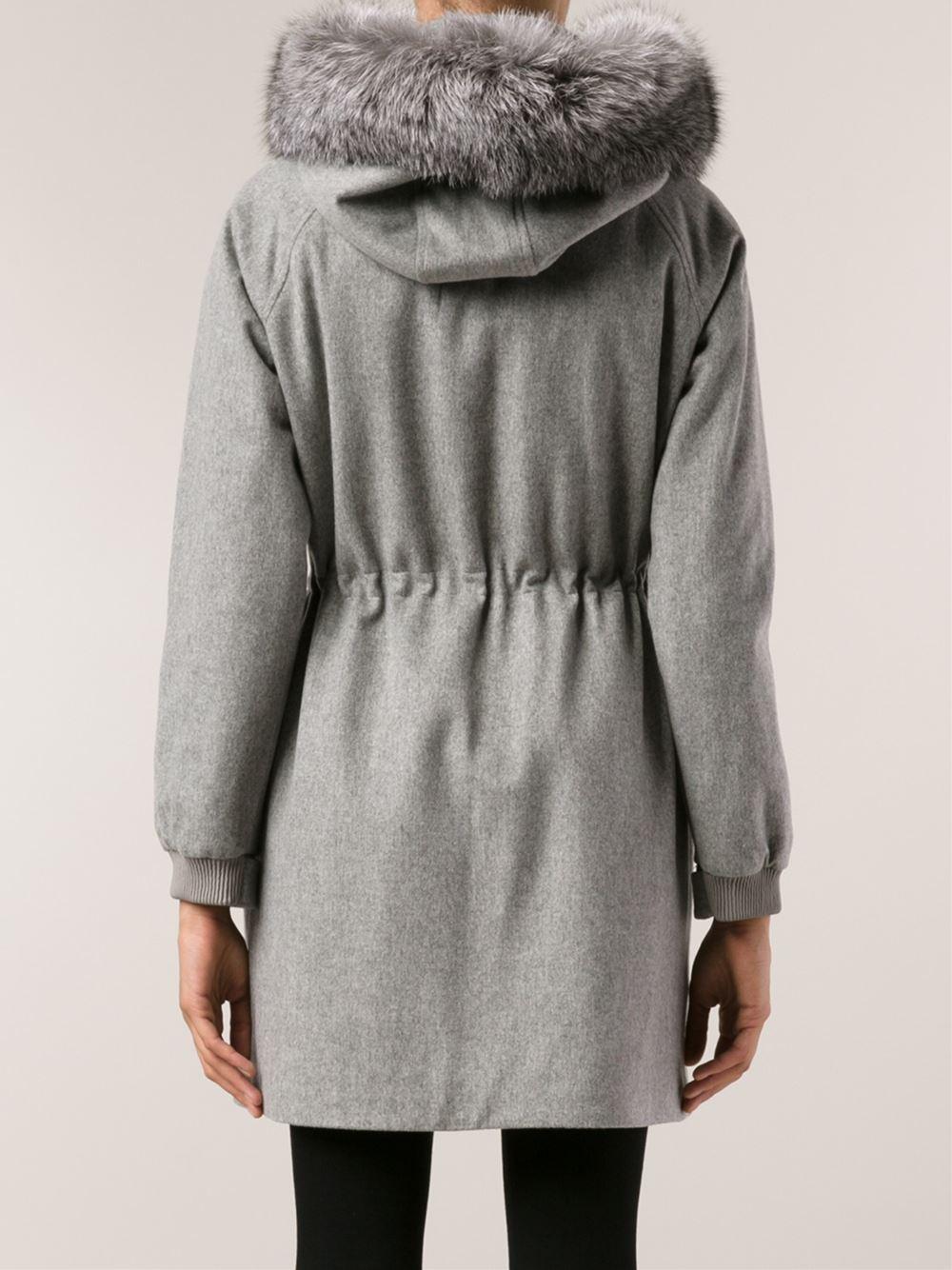 Loro piana Fur Hood Trim Coat in Gray | Lyst