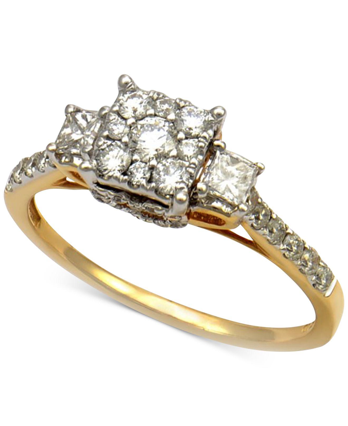 Macy s Diamond Three Stone Engagement Ring 7 8 Ct T w In 14k Yellow G