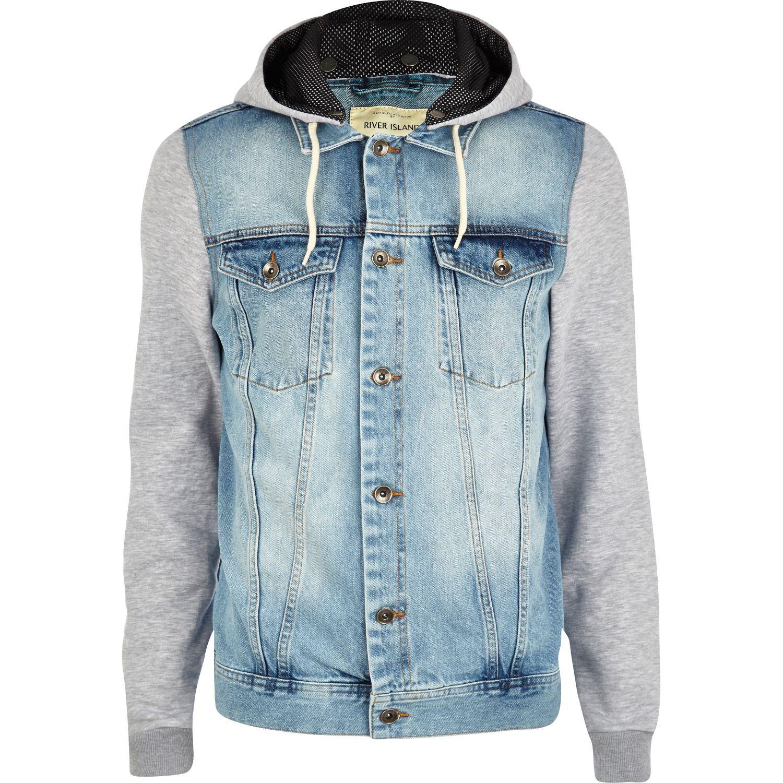 River Island Light Wash Jersey Sleeve Denim Jacket In Blue