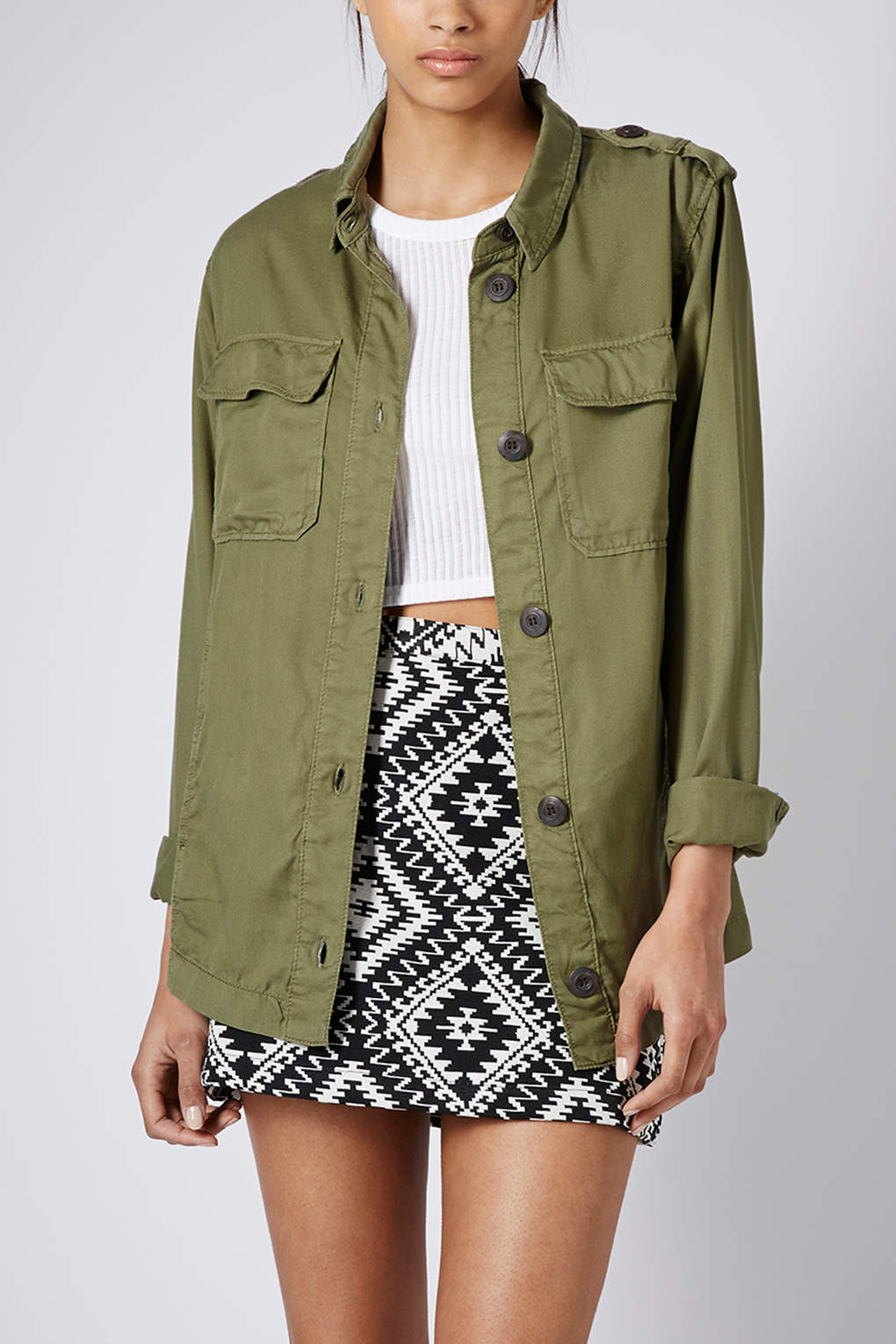 Topshop Lightweight Shirt Jacket in Natural | Lyst