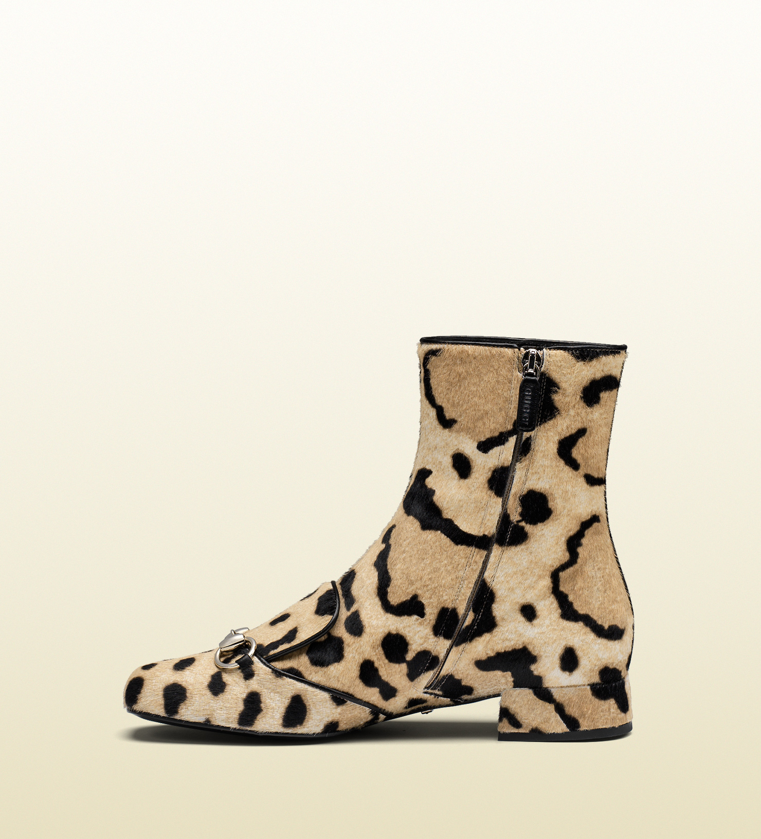a42e24c01f34 Gucci Leopard Print Calf Hair Horsebit Ankle Boot - Lyst
