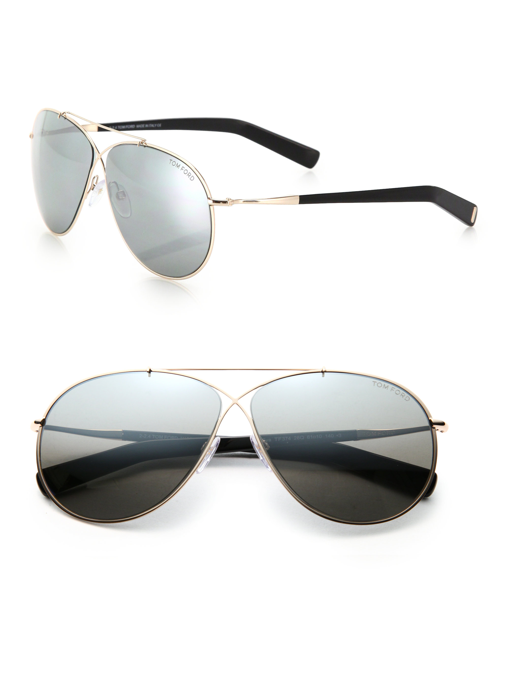 aa1b36eee122 Lyst - Tom Ford Eva 61mm Pilot Sunglasses in Metallic