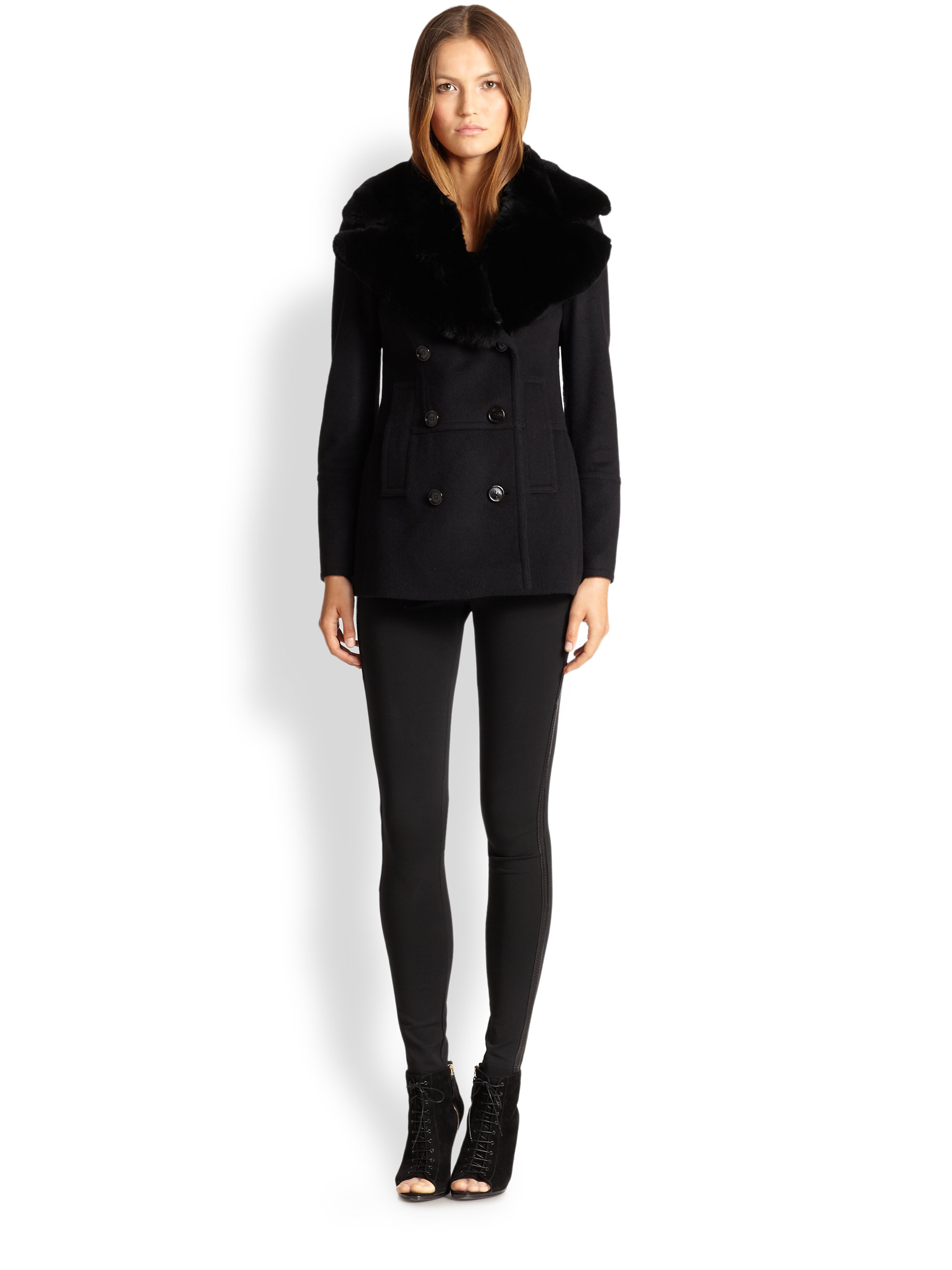 Burberry Melfield Fur-Collar Wool & Cashmere Coat in Black | Lyst