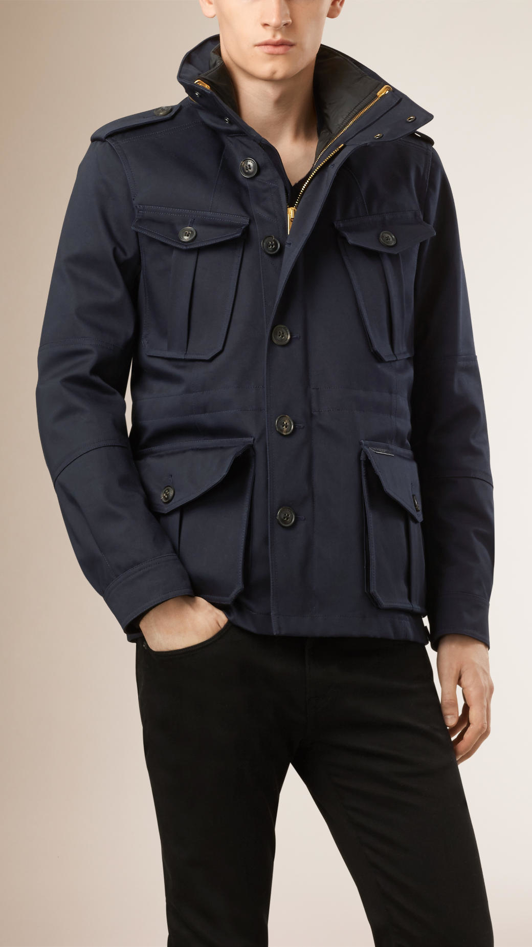 Burberry Cotton Field Jacket With Detachable Warmer In