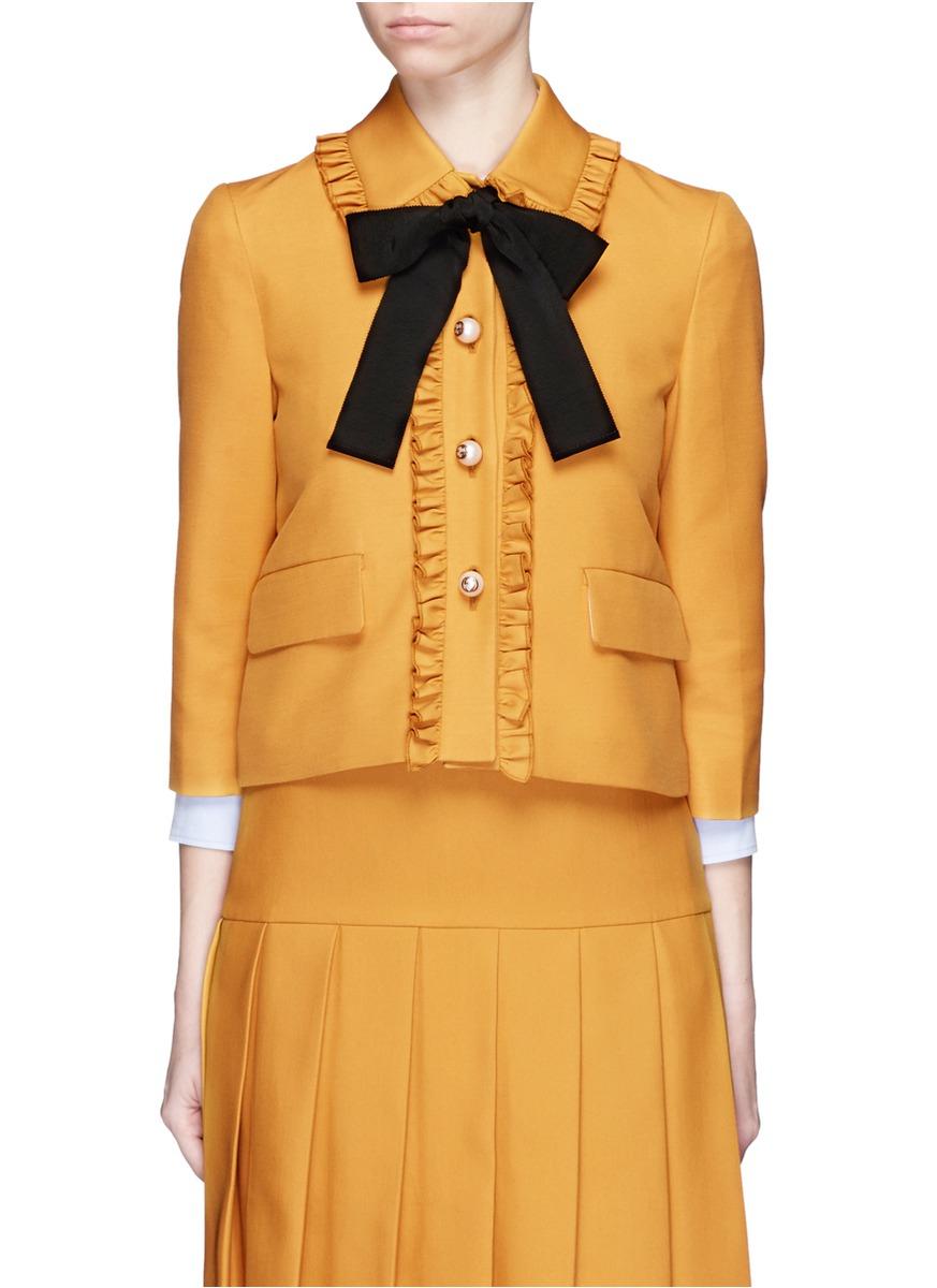 80255be1c Gucci Ruffle Trim Silk-wool Cady Jacket in Yellow - Lyst