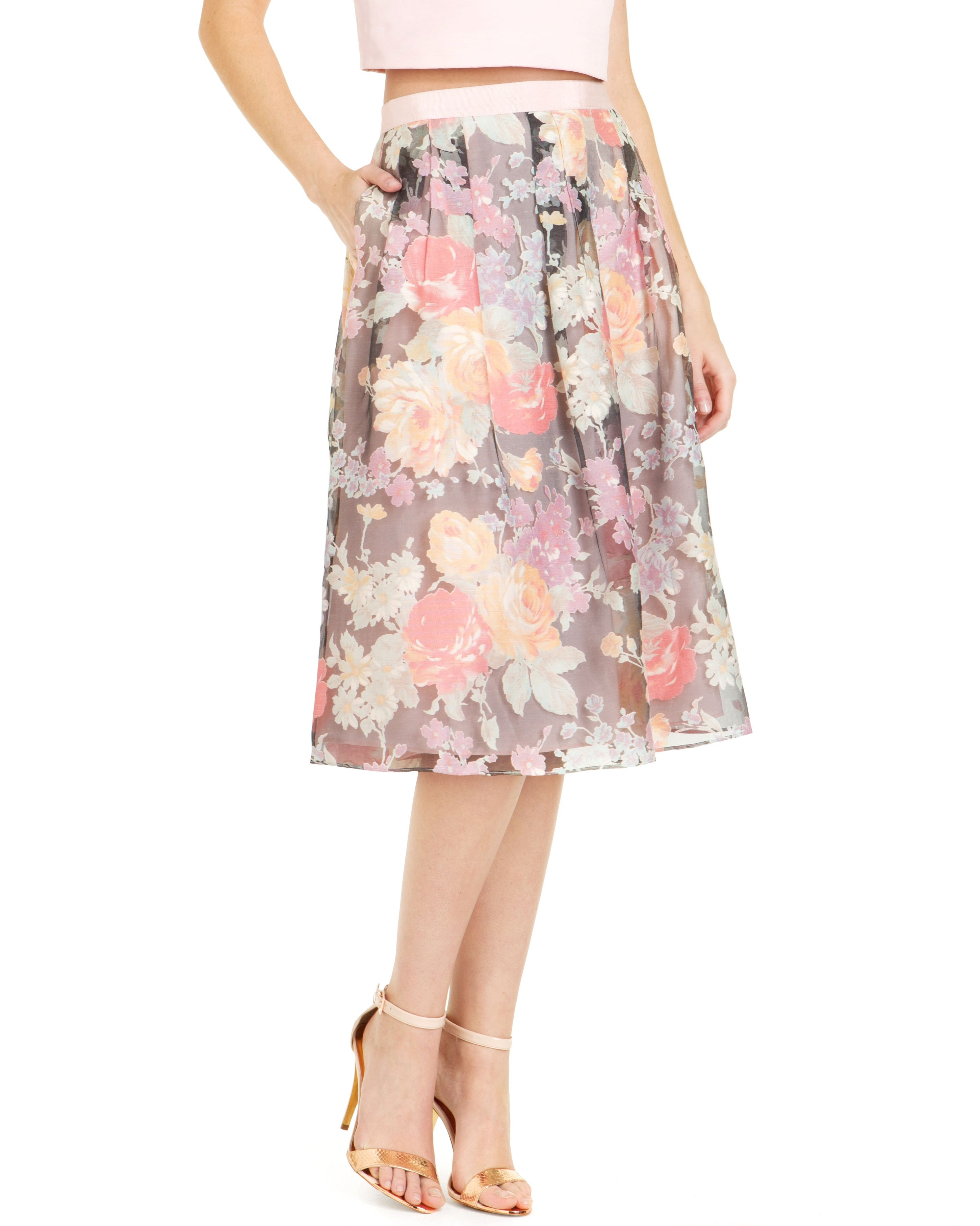 Ted baker Alaena Colourful Floral Midi Skirt in Pink | Lyst