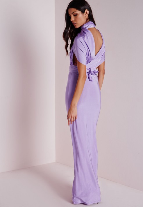 38126e9e1b Lyst - Missguided Do It Any Way Multiway Slinky Maxi Dress Purple in ...
