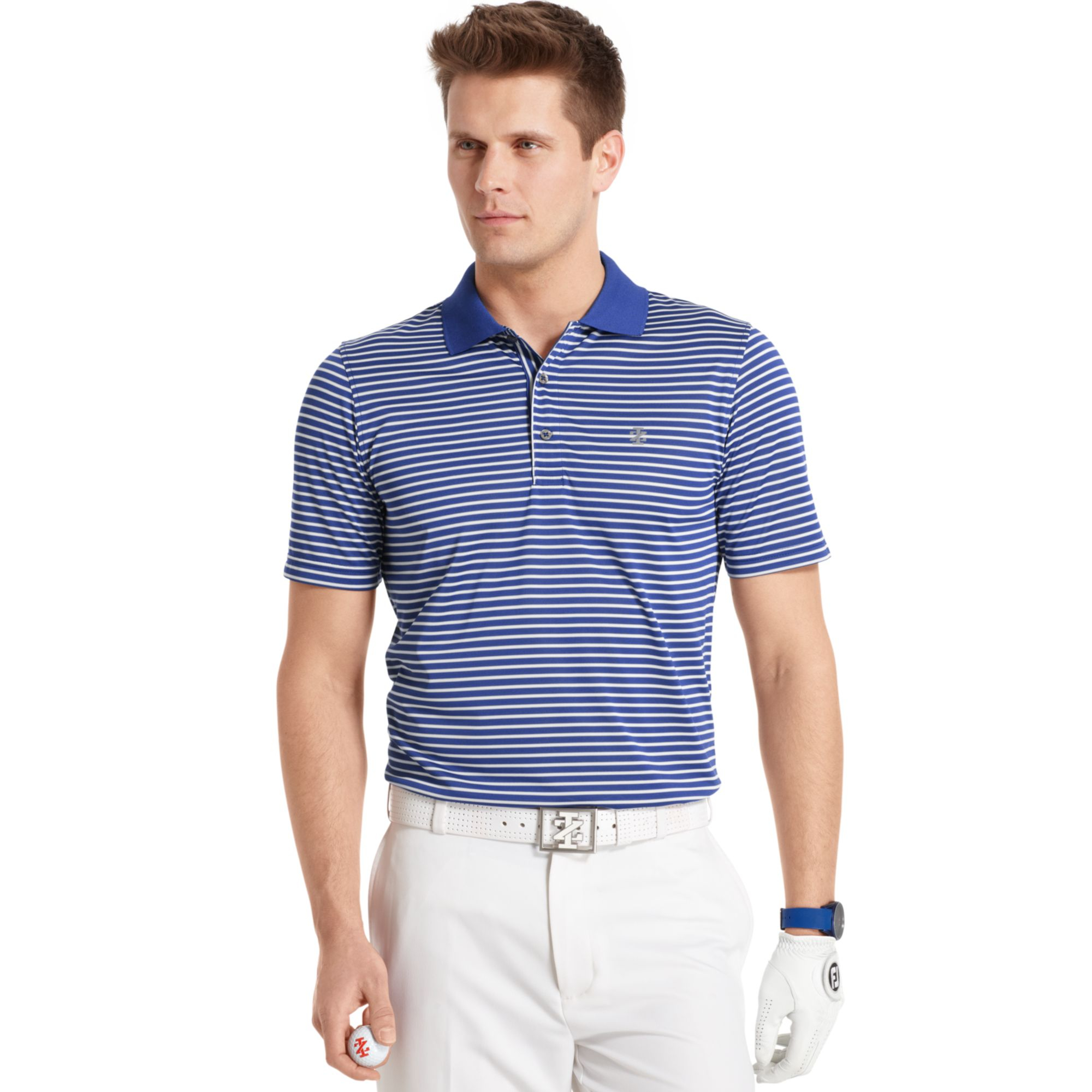 Izod Feeder Striped Performance Golf Polo In Blue For Men