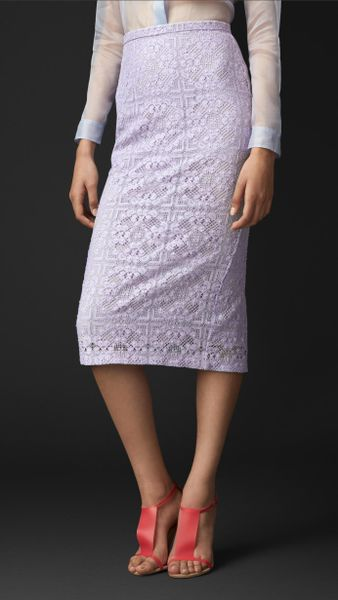 burberry floral lace pencil skirt in purple pale
