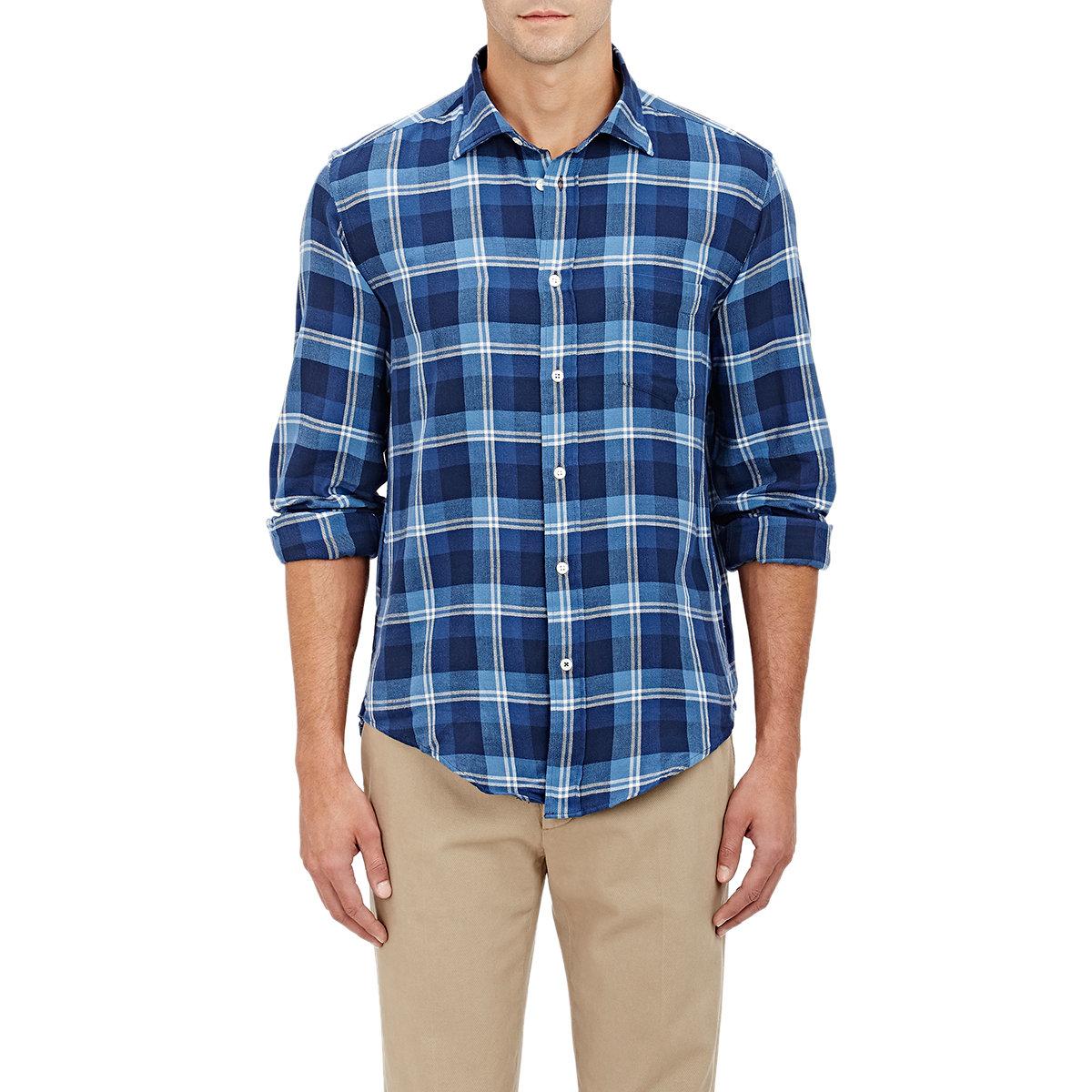 Hartford Windowpane Plaid Flannel Shirt In Blue For Men Lyst