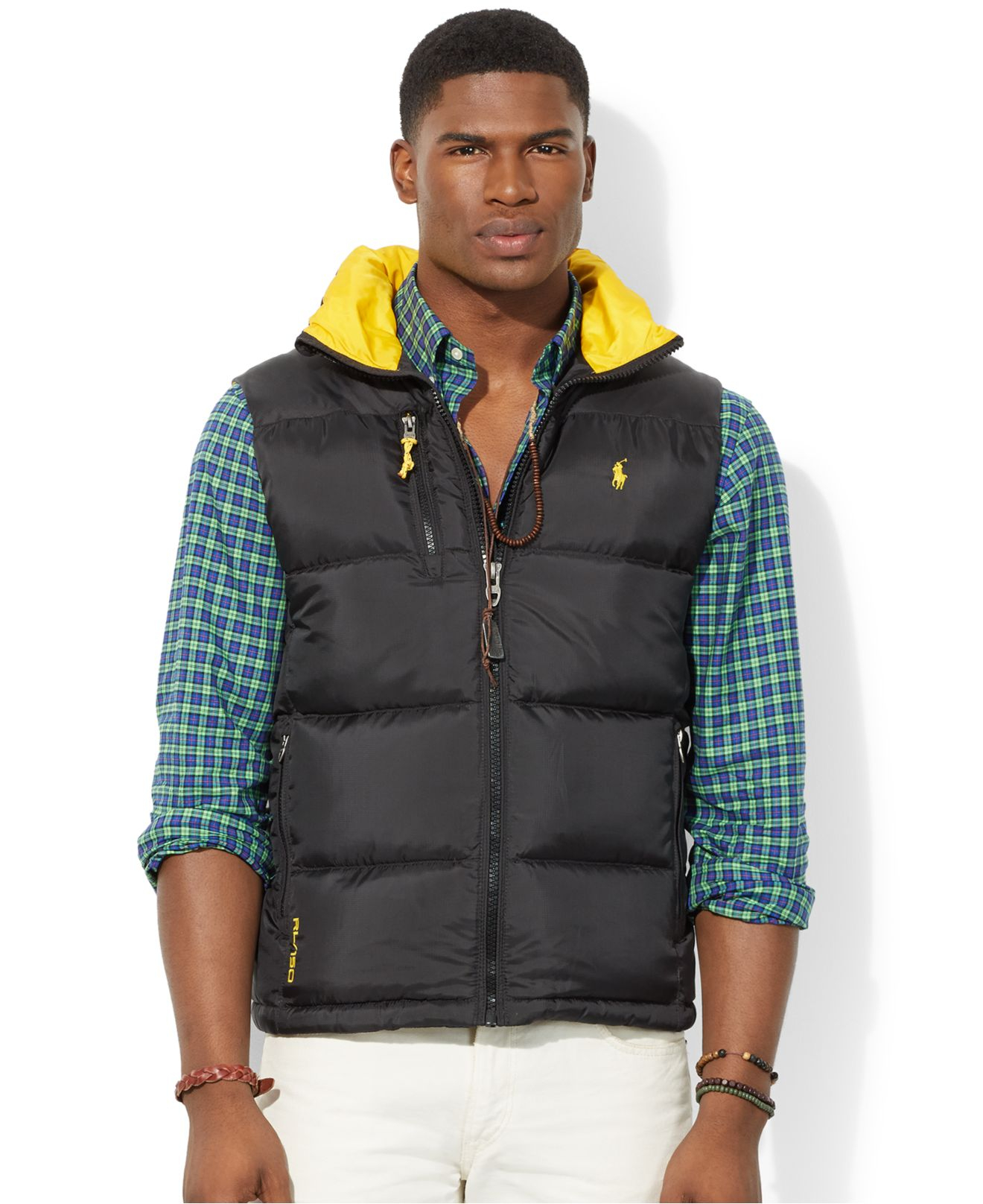 f8c2bf9ee89 Lyst - Polo Ralph Lauren Color-Blocked Quilted Trek Vest in Black ...