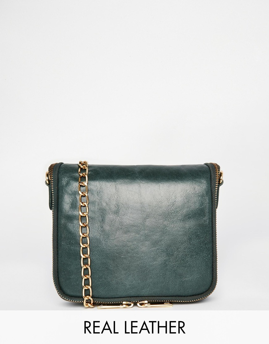 0482858e42 Urbancode Leather Cross Body Bag in Green - Lyst