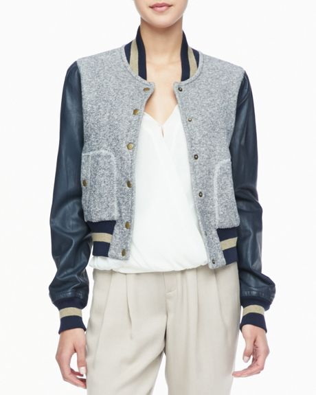 Rachel Zoe Ryder Leather-Sleeve Baseball Jacket in Blue (ADMIRAL)