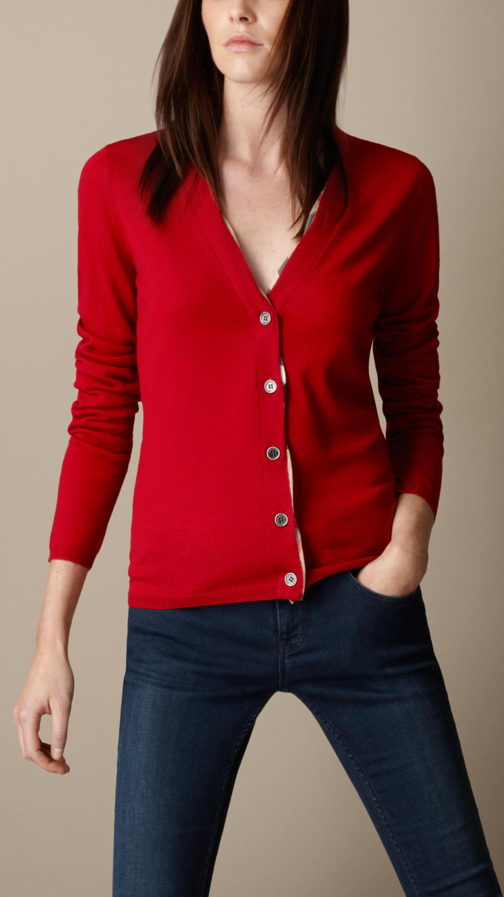 Burberry Check Placket Merino Wool Cardigan in Red | Lyst