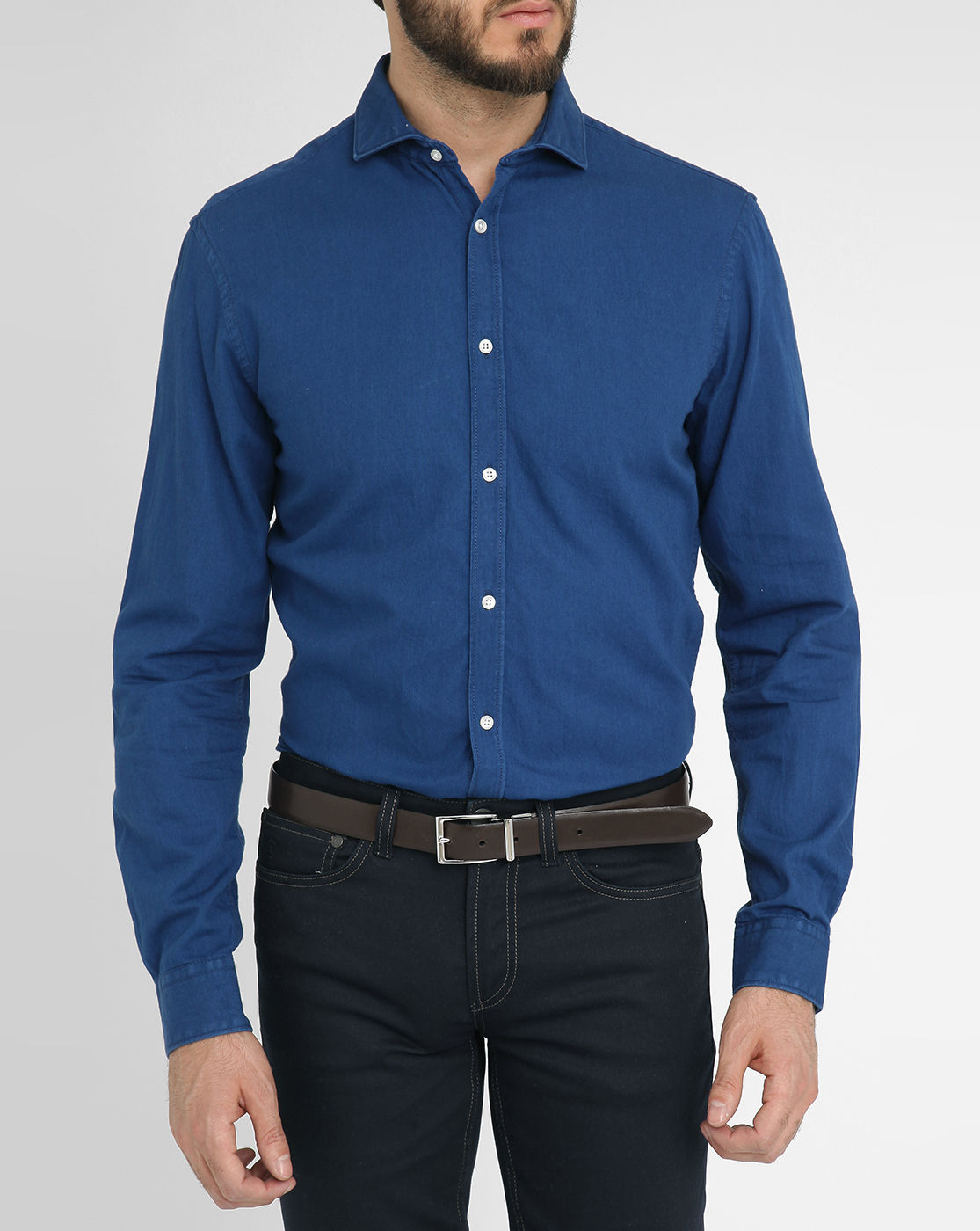 Celio club navy denim slim fit shirt in blue for men lyst for Navy slim fit shirt