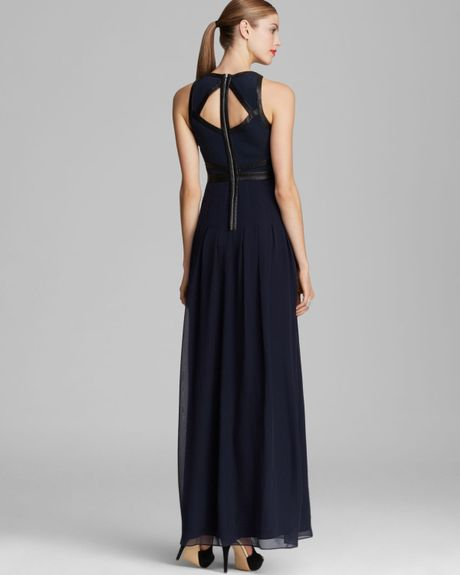 Rebecca Taylor Gown Sleeveless Leather Caged In Blue Dark