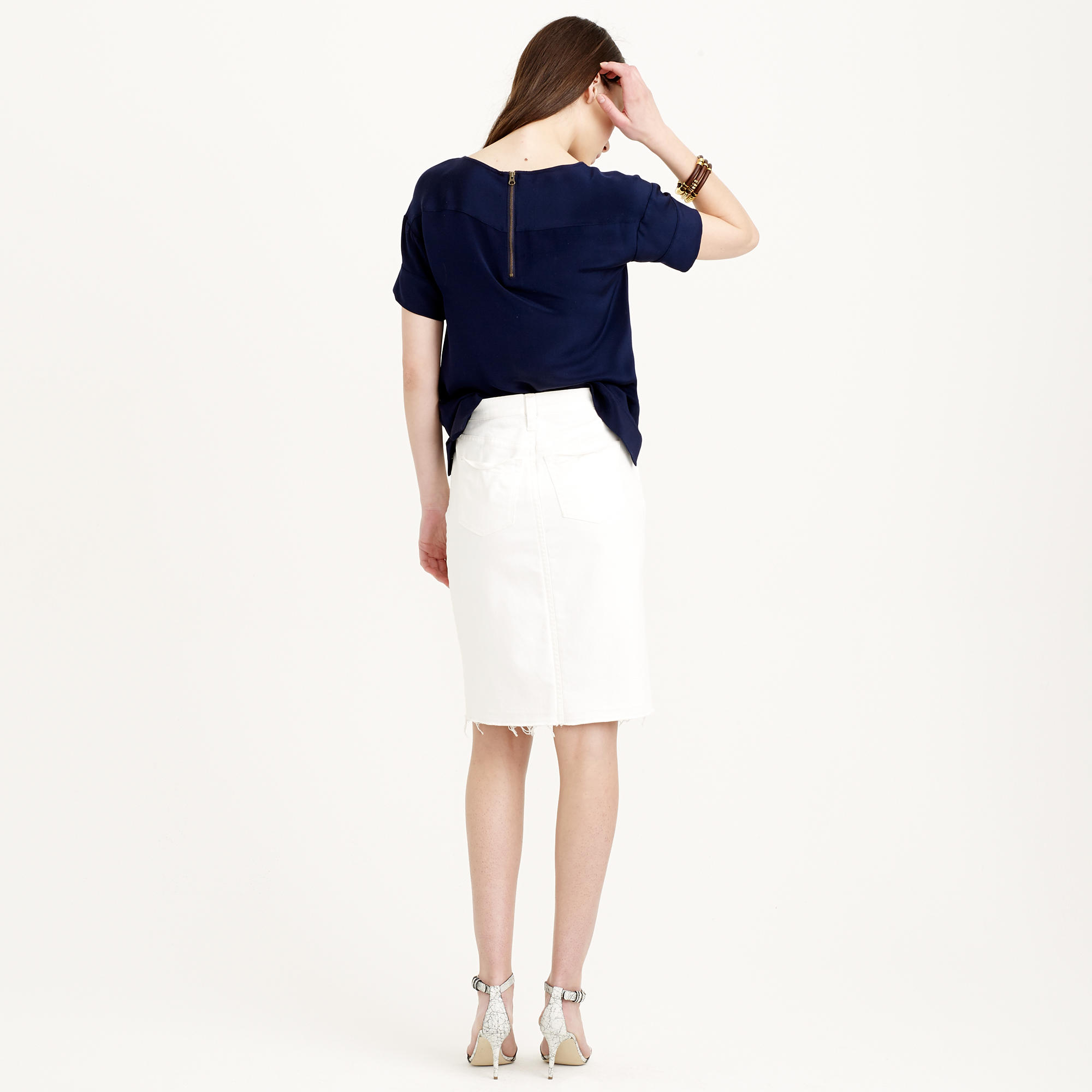 j crew frayed denim pencil skirt in white in white lyst