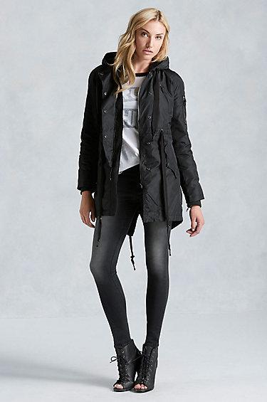 true religion sherpa lined parka womens jacket in black lyst. Black Bedroom Furniture Sets. Home Design Ideas