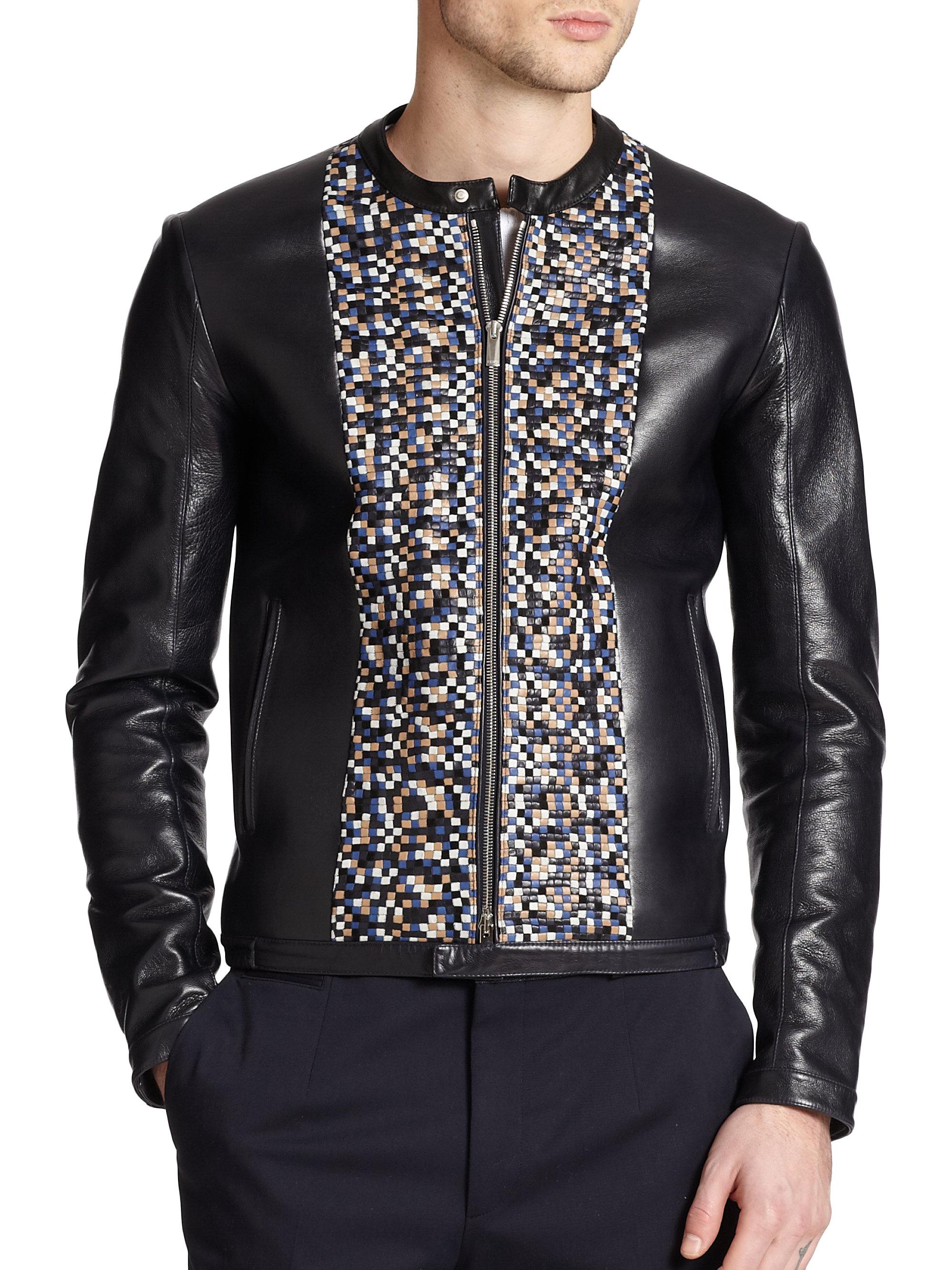 Blue leather bomber jacket