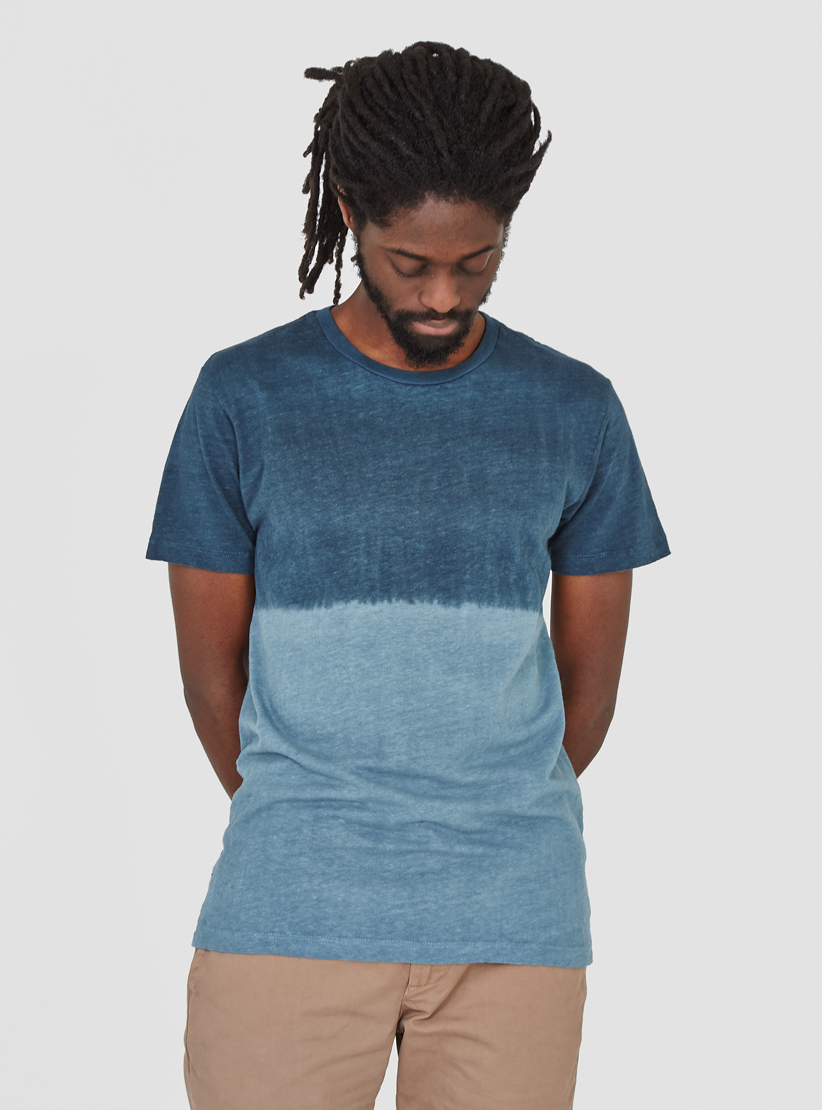 Lyst mollusk dipped hemp t shirt blue in blue for men for Mens hemp t shirts
