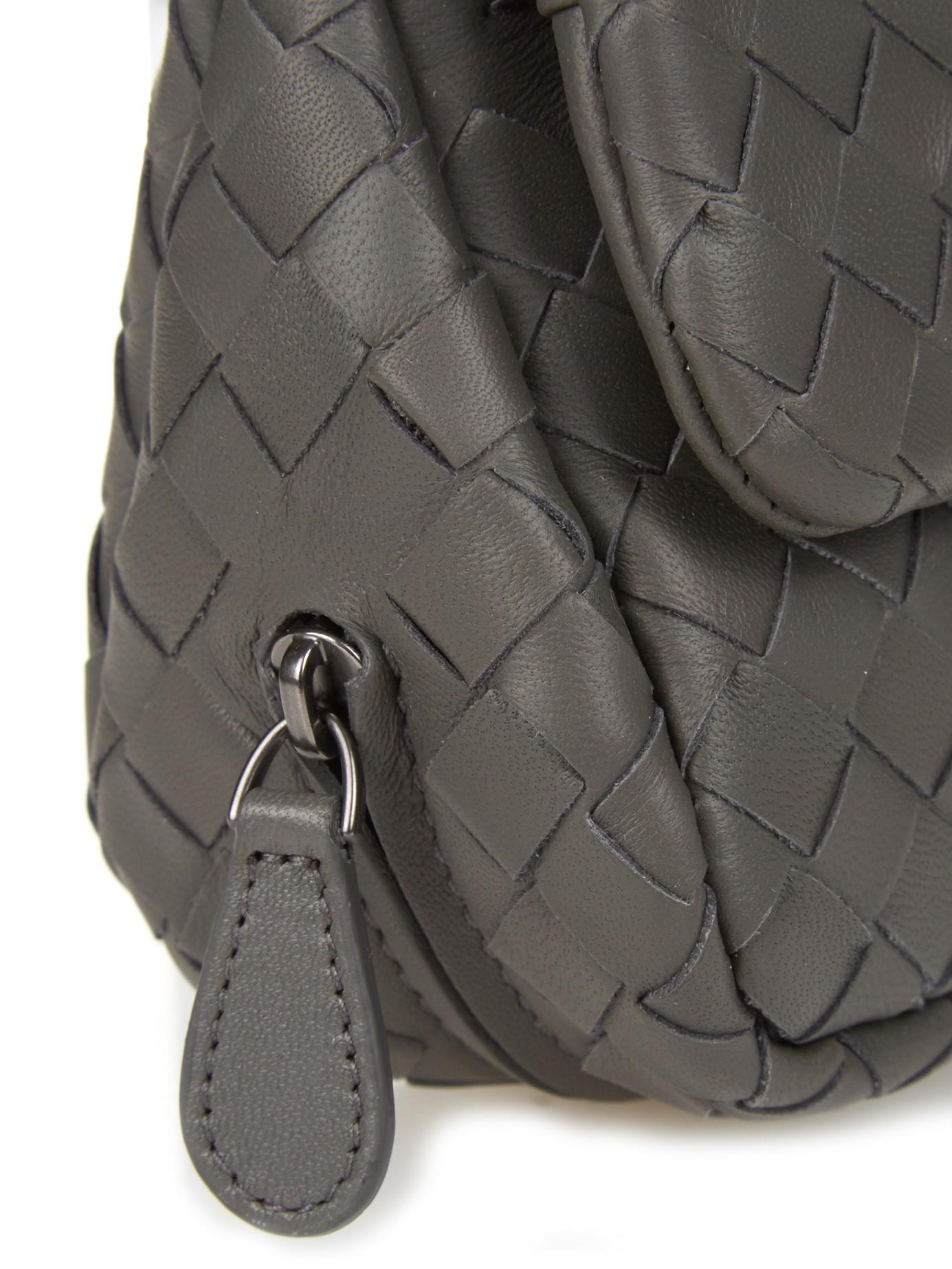 cf81ebadfa Bottega Veneta Intrecciato Leather Cross-Body Bag in Gray - Lyst