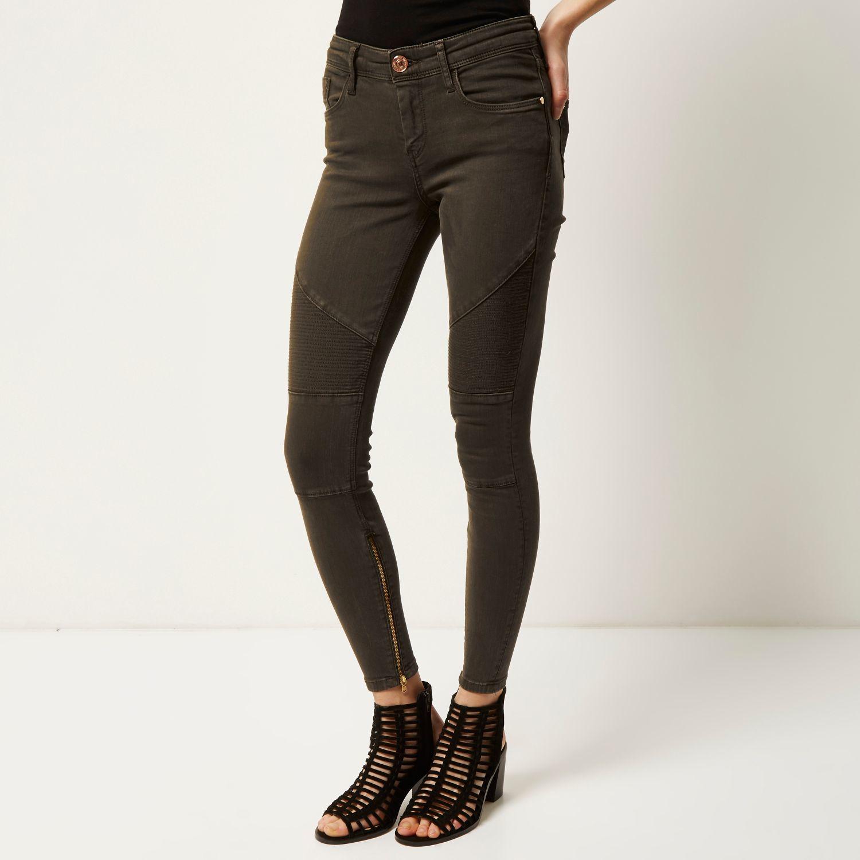River island Khaki Amelie Super Skinny Biker Jeans in Gray | Lyst