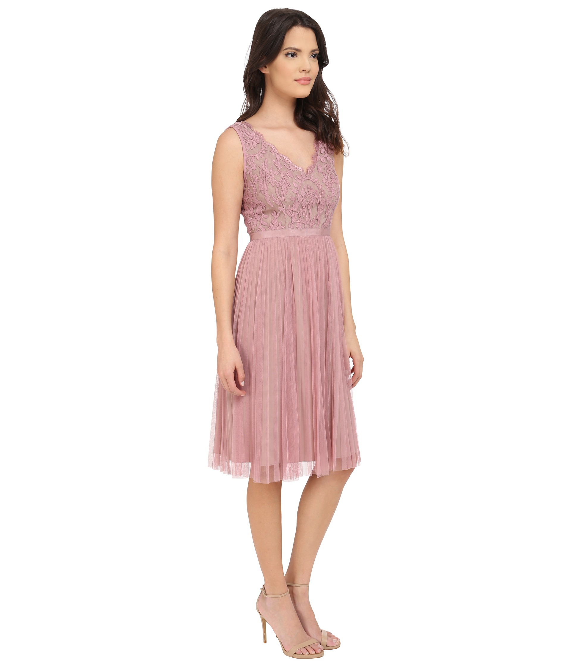 Adrianna Papell Fit And Flare Lace Combo Dress In Pink Lyst