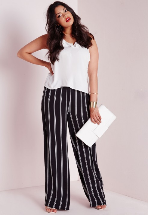 290b70107d3 Missguided Plus Size Stripe Wide Leg Trousers Black in Black - Lyst