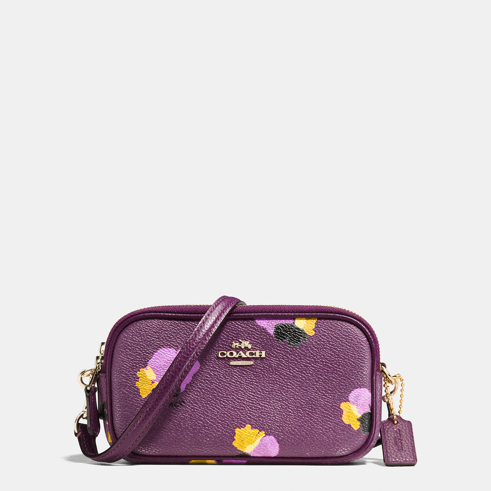 1a55a98cb COACH Crossbody Pouch In Floral Print Coated Canvas - Lyst