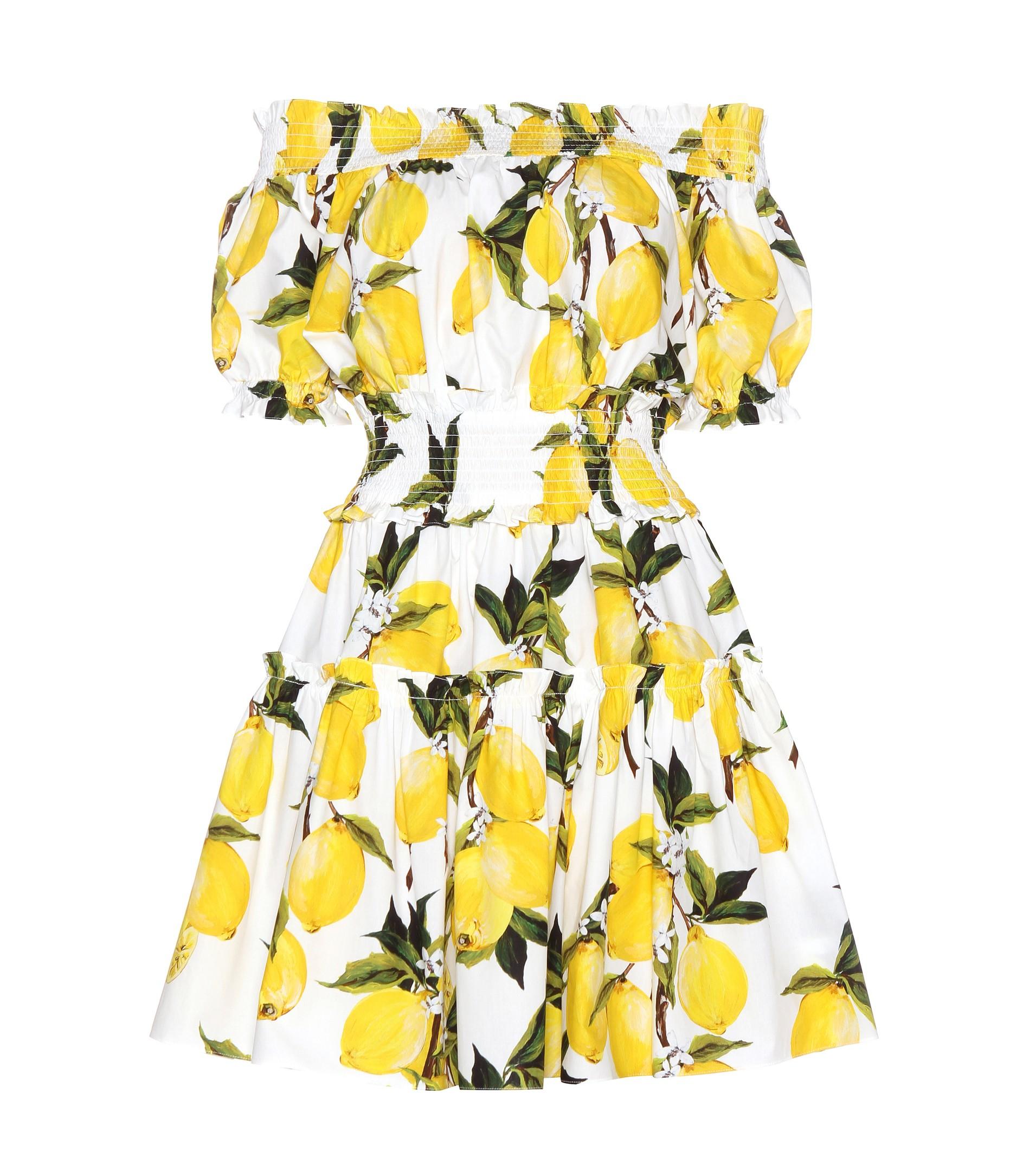 Off-The-Shoulder Printed Cotton-Poplin MIni Dress Dolce & Gabbana FolYmf3u