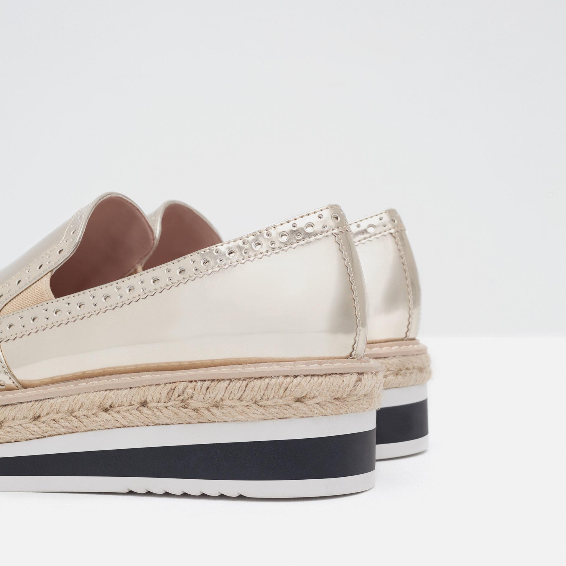 Zara Flat Platform Shoes in Metallic | Lyst