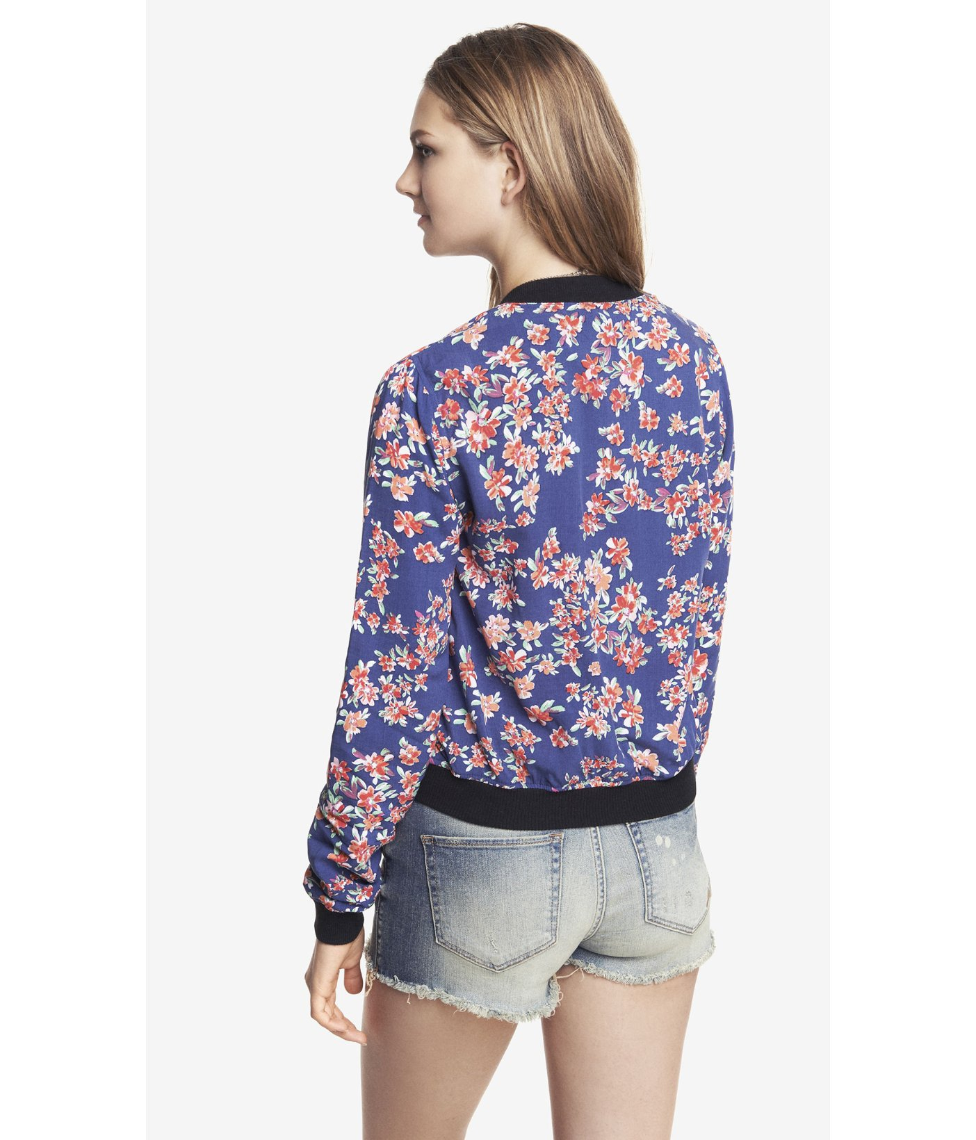 Express Floral Soft Bomber Jacket in Blue | Lyst